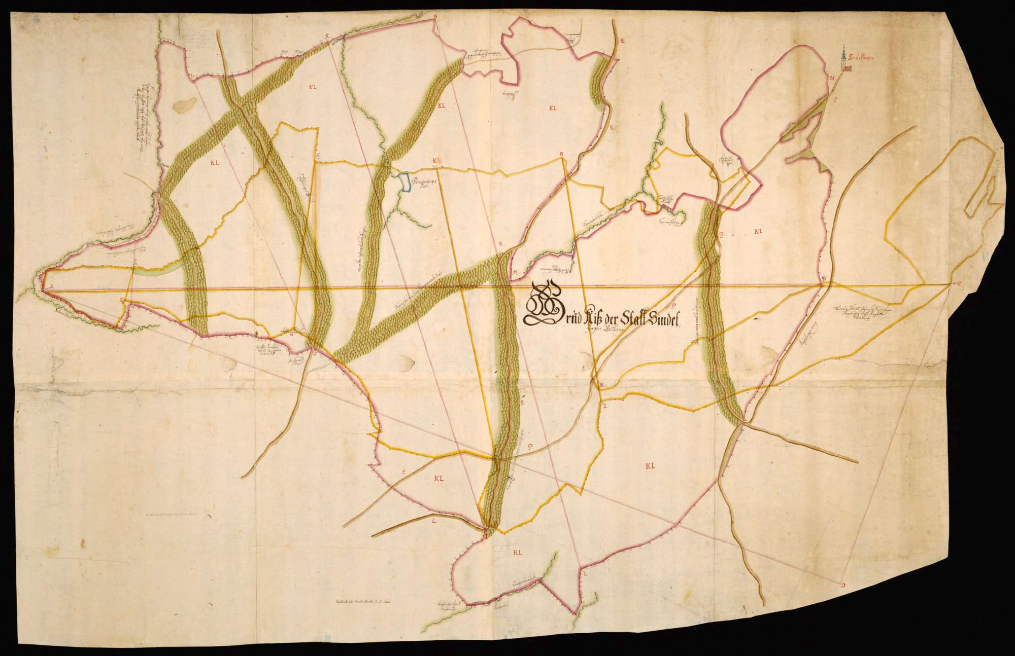 """""""Grundriss der Stadt Sindelfinger Waldungen"""" [auf der Rückseite """"H. Kiesers Riss Stadt Sindelfingen und zugehörige Waldungen"""" ], Bild 1"""