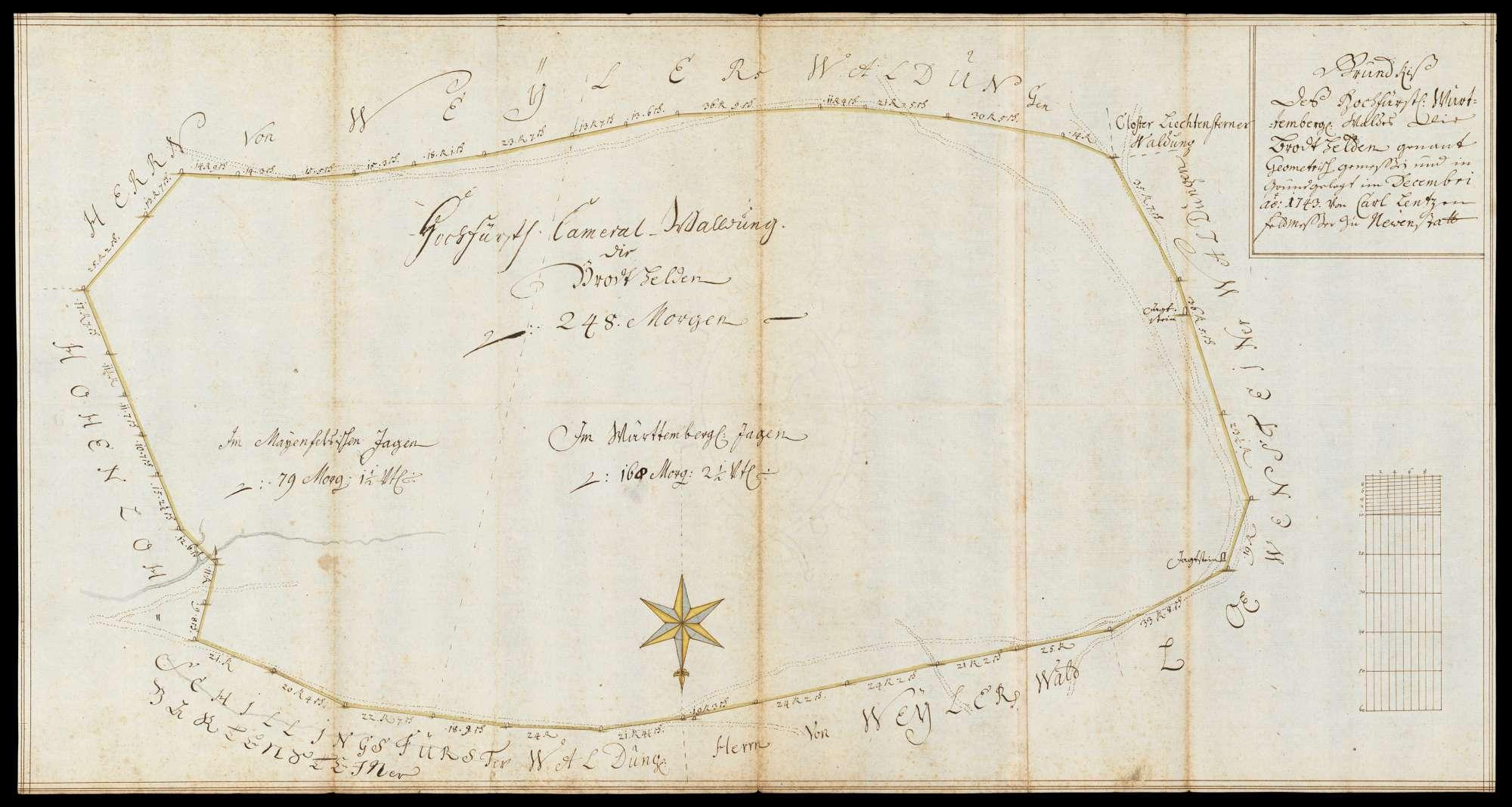 """[Revier Lichtenstern] """"Grundriß des hochfürstlich württembergischen Waldes, die Brodthelden genannt, geometrisch gemessen und in Grund gelegt im Decembri anno 1743 von Carl Lentzen, Feldmesser zu Newenstatt"""", Bild 1"""