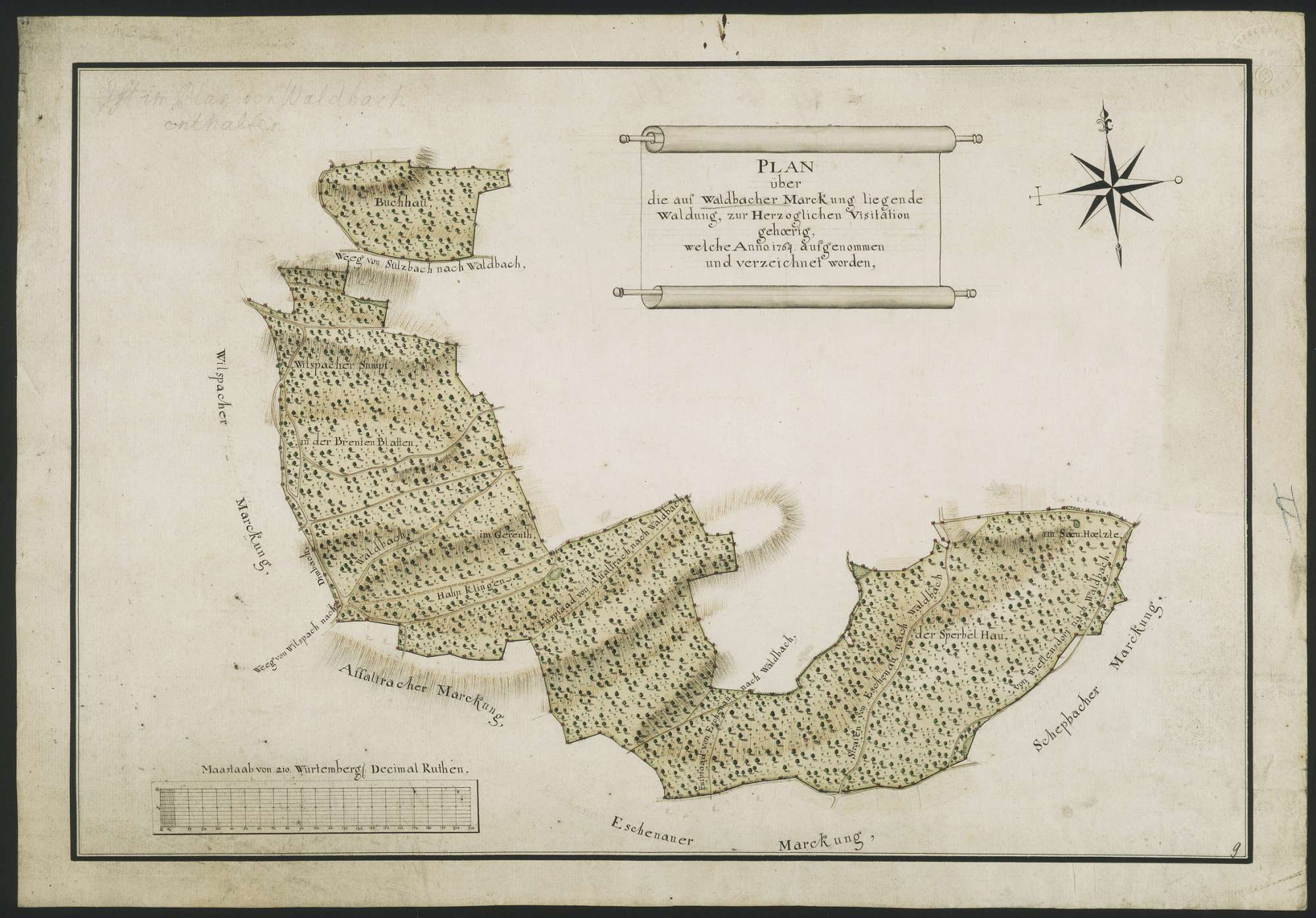 """""""Plan über die auf Waldbacher Marckung liegende Waldung, zur Herzoglichen Visitation gehörig, welche Anno 1764 aufgenommen und verzeichnet worden"""", Bild 1"""