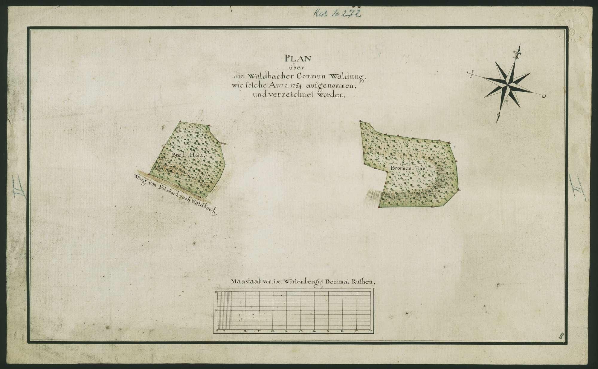 """""""Plan über die Waldbacher Commun Waldung, wie solche Anno 1764 aufgenommen und verzeichnet worden"""" [Waldteile: Buchhau, Bronnenhau], Bild 1"""