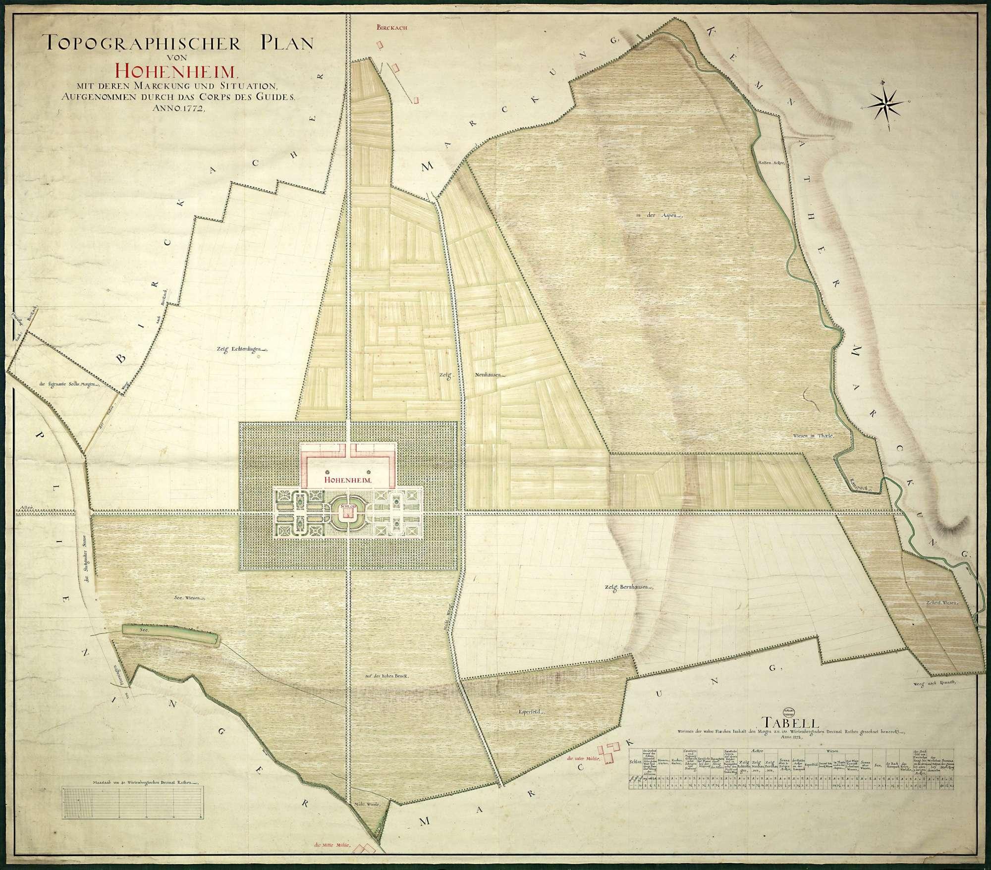 """""""Topographischer Plan von Hohenheim mit deren Markung und Situation, aufgenommen durch das Corps des Giuides Anno 1772"""", Bild 1"""