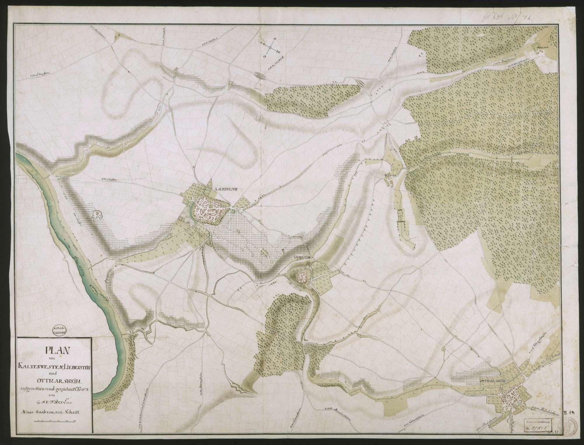 """""""Plan von Kaltenwesten, Liebenstein und Ottmarsheim"""", Bild 1"""