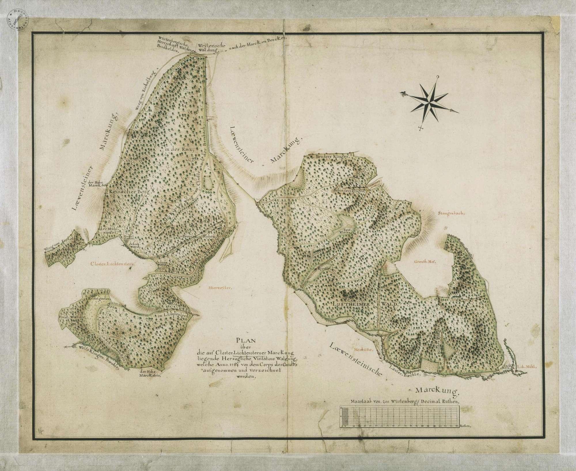 """""""Plan über die auf Closter Lichtensterner Marckung liegende Herzogliche Visitations Waldung, welche Anno 1764 von dem Corps des Guides aufgenommen und verzeichnet worden"""", Bild 1"""