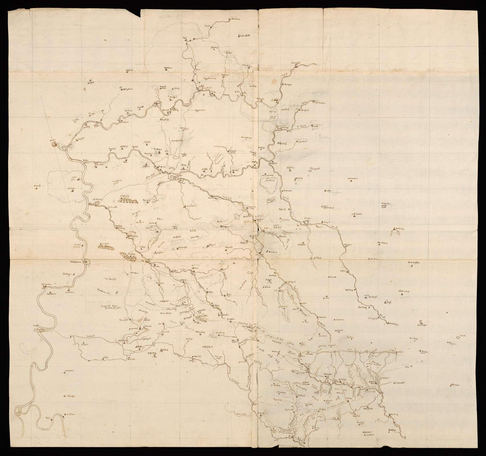 """[Karte des nördlichen Württemberg und des westlichen Hohenlohe mit dem Kraichgau] """"Möckmühl, Newenstadt, Böringsweiler ... cum inclusio Craichgo[wiae]"""" (verstümmelt; Rückseitentitel von Majer), Bild 1"""