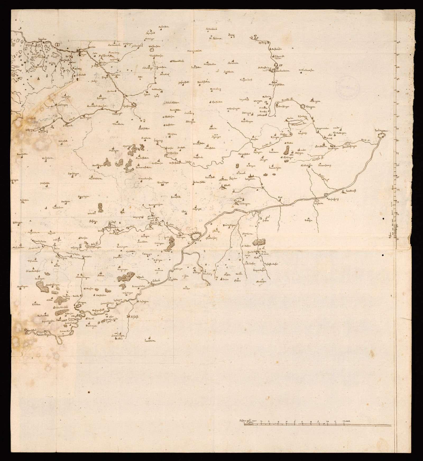 """[Karte der östlichen Alb und des Albuchs] """"Donau von Marchthal biß Lauingen"""" (Rückseitentitel von späterer Hand), Bild 1"""
