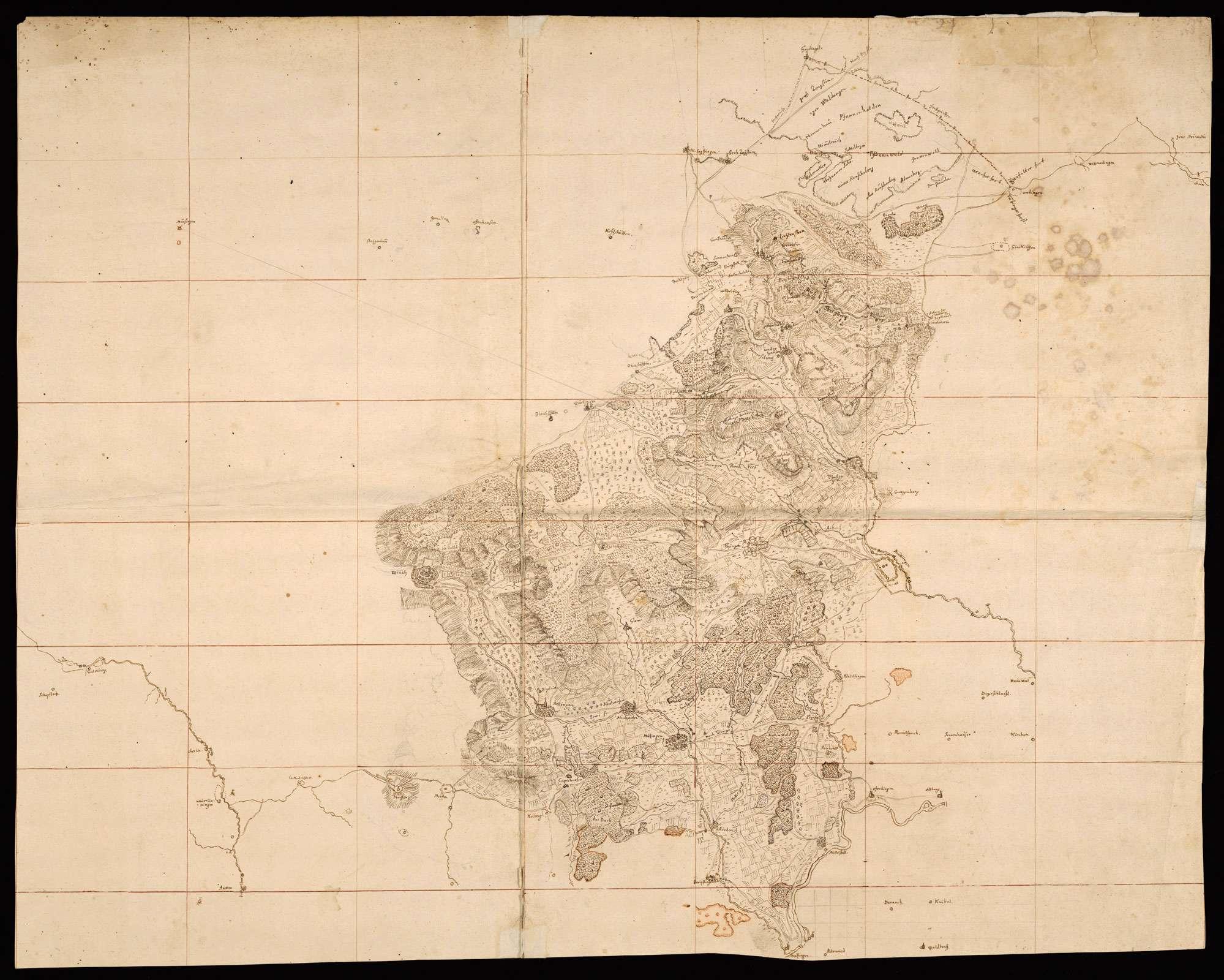 [Karte des nordwestlichen Teils des Uracher Forsts zwischen Echaz, Neckar und Erms], Bild 1