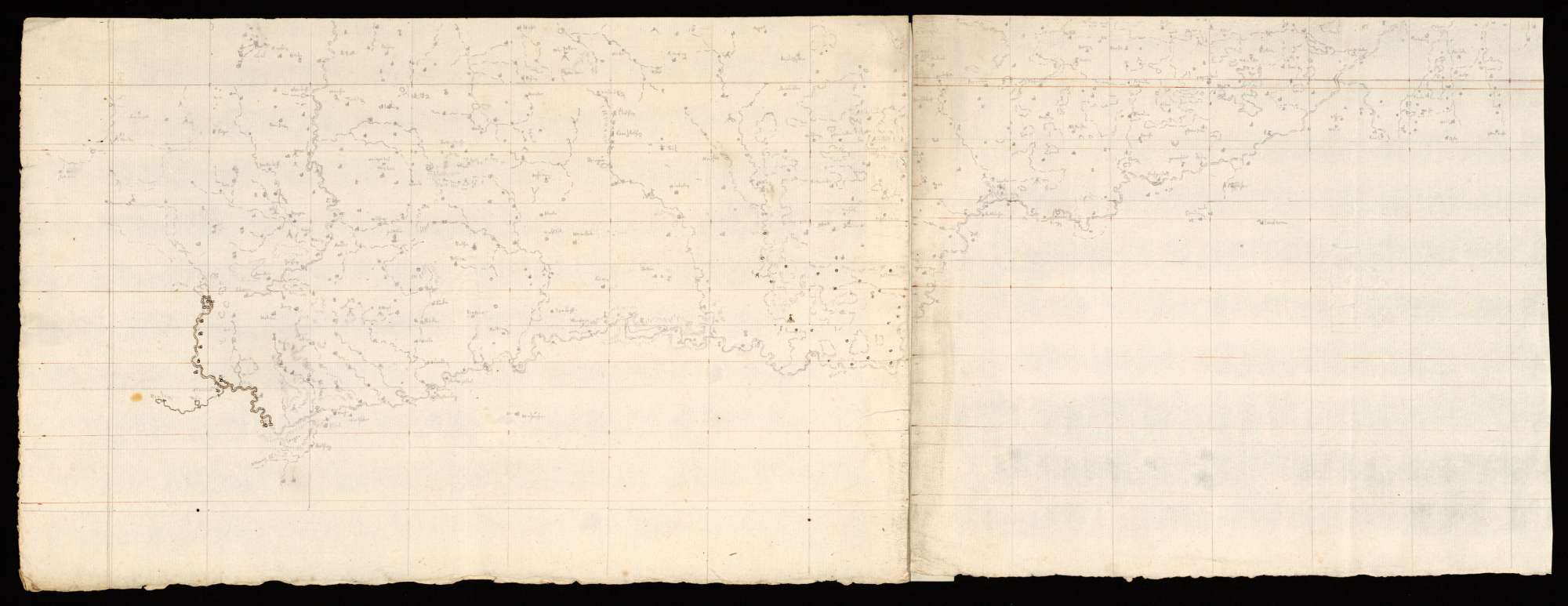 [Karte der Donau von ihrem Ursprung bis Ulm und des nördlich davon liegenden Gebiets], Bild 1