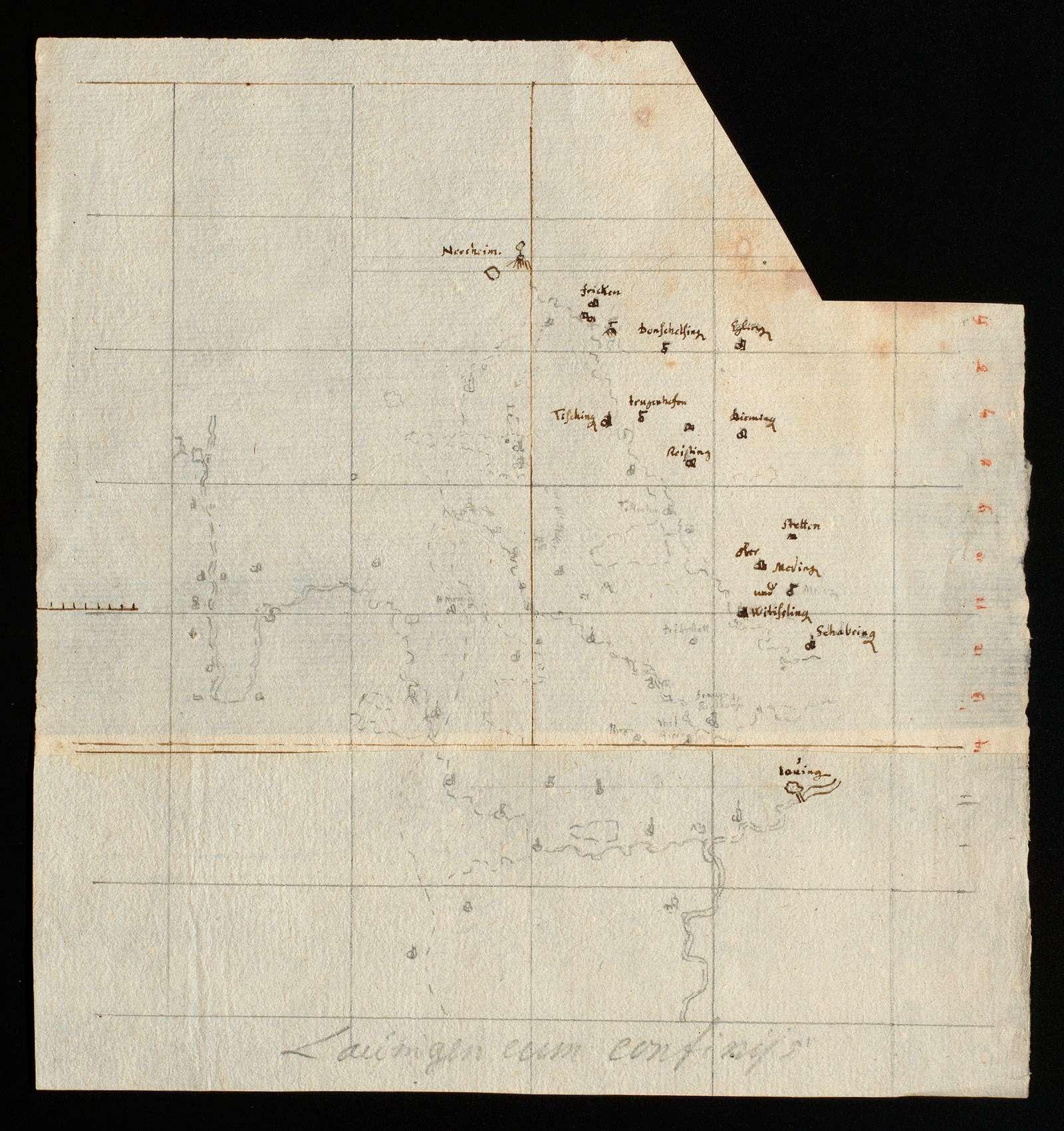 """[Karte des Gebiets zwischen Brenz, Donau und Egau] """"Lauingen cum confiniis"""" [von späterer Hand], Bild 1"""