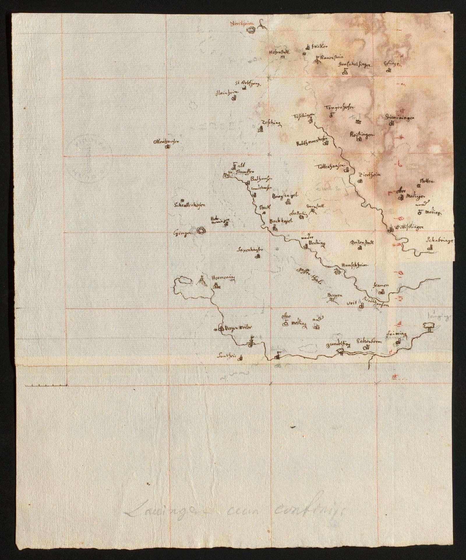 """[Karte des Gebiets zwischen Brenz und Egau] """"Lauingen cum confinitiis"""" [von späterer Hand], Bild 1"""