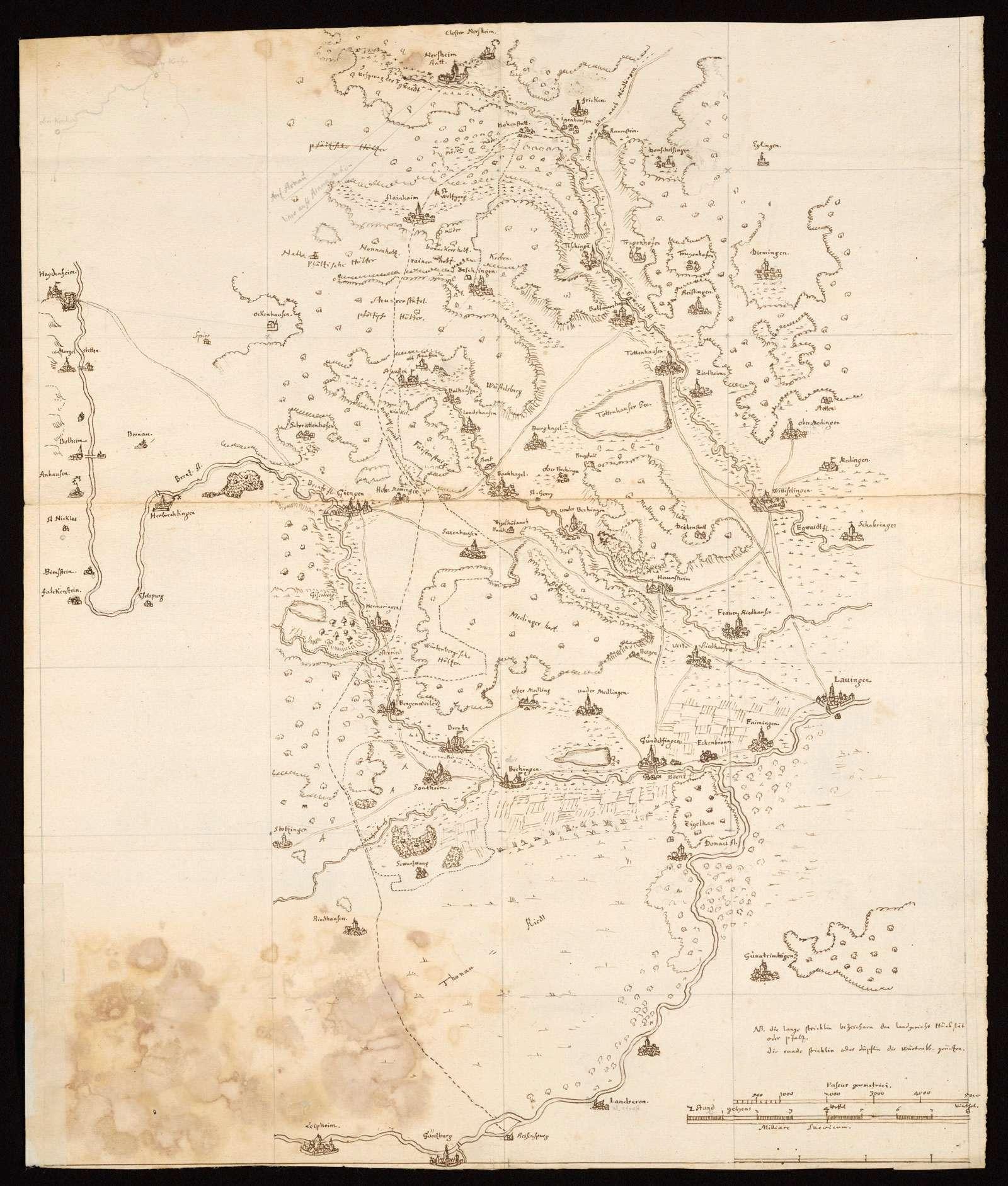 [Karte des südlichen Härtsfelds und des Donaurieds], Bild 1
