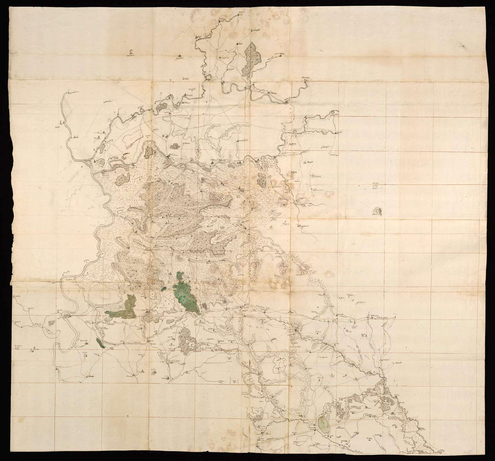 """[Große Karte der Wälder zwischen Neckar, Jagst, Ohrn, Rot und Murr] """"Großer Riß von Lauffen mit Franken"""" [von späterer Hand auf der Rückseite], Bild 1"""