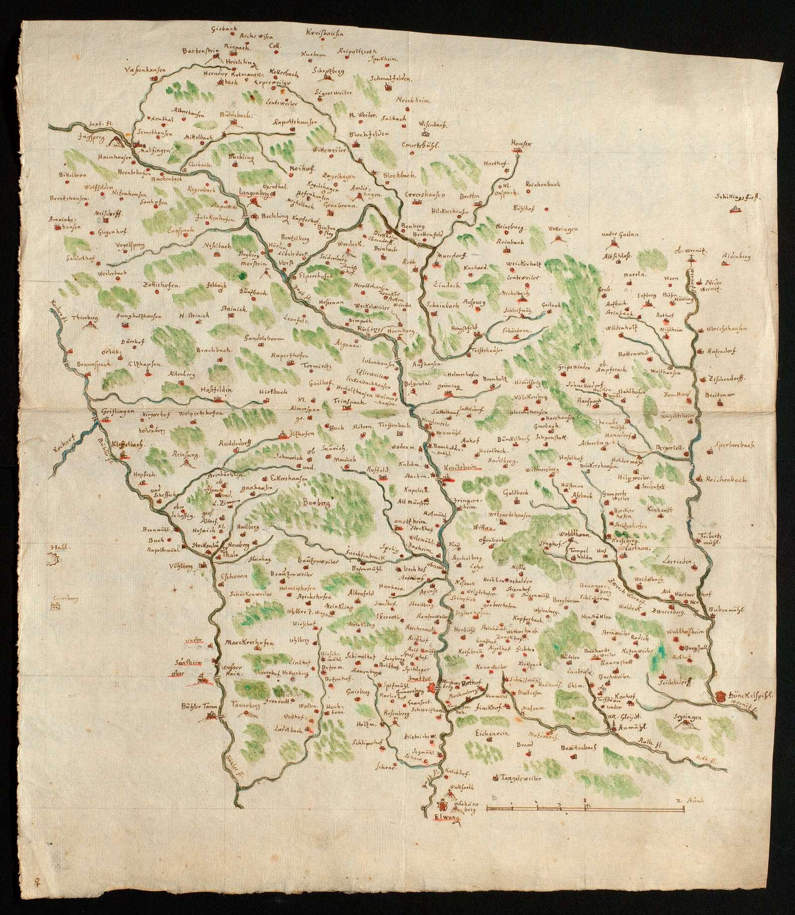 [Karte des Gebiets zwischen Bühler, Jagst und Wörnitz], Bild 1