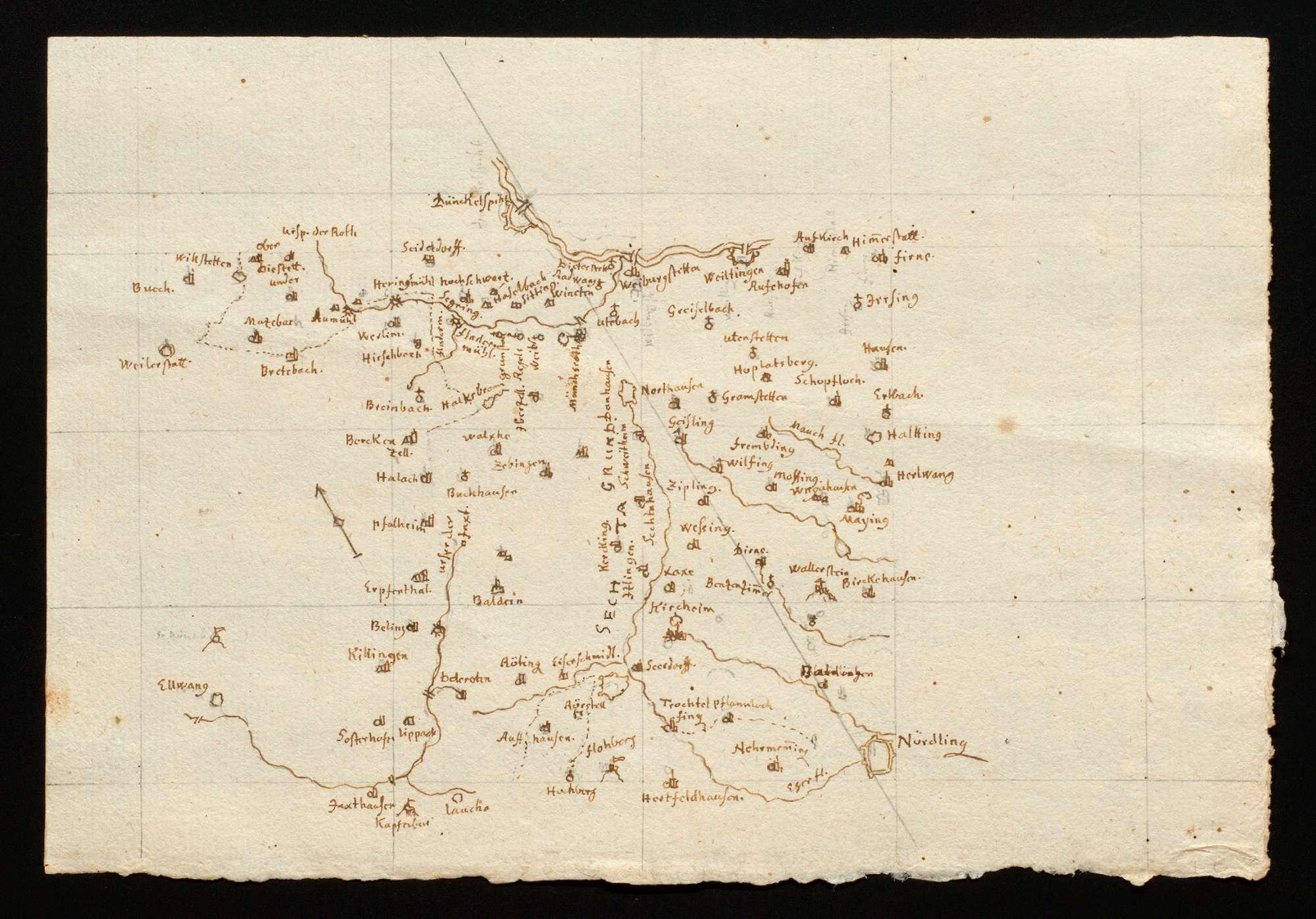 """[Karte des Gebiets zwischen Dinkelsbühl und Nördlingen] """"Von Nördlingen biß Dinckelspiel"""" [Rückseitentitel von späterer Hand], Bild 1"""