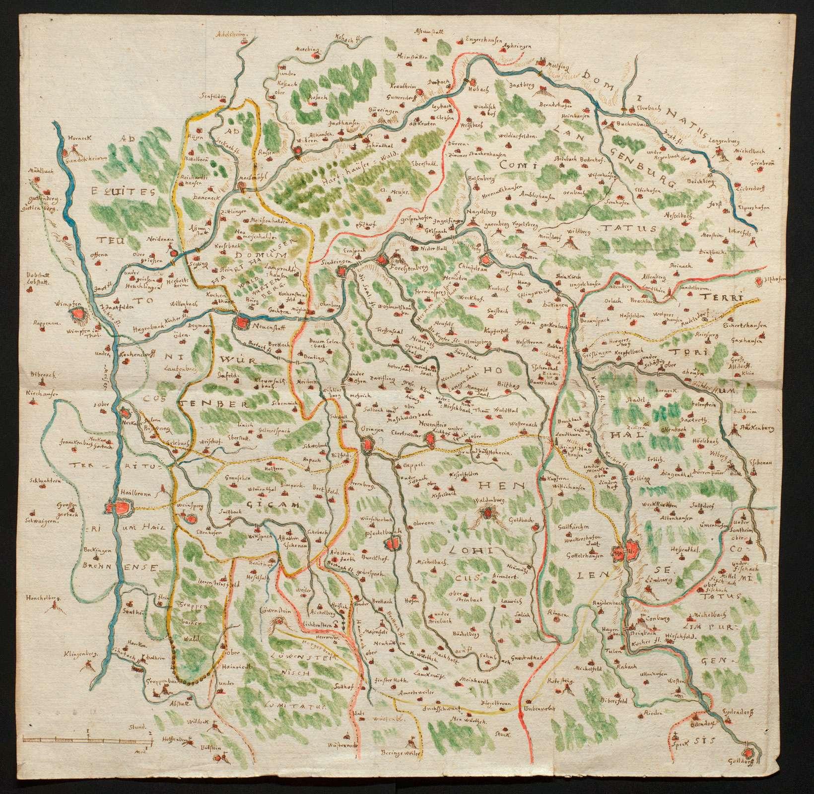 [Karte des Gebiets zwischen Neckar, Jagst und Kocher mit ihren Nebenflüssen], Bild 1