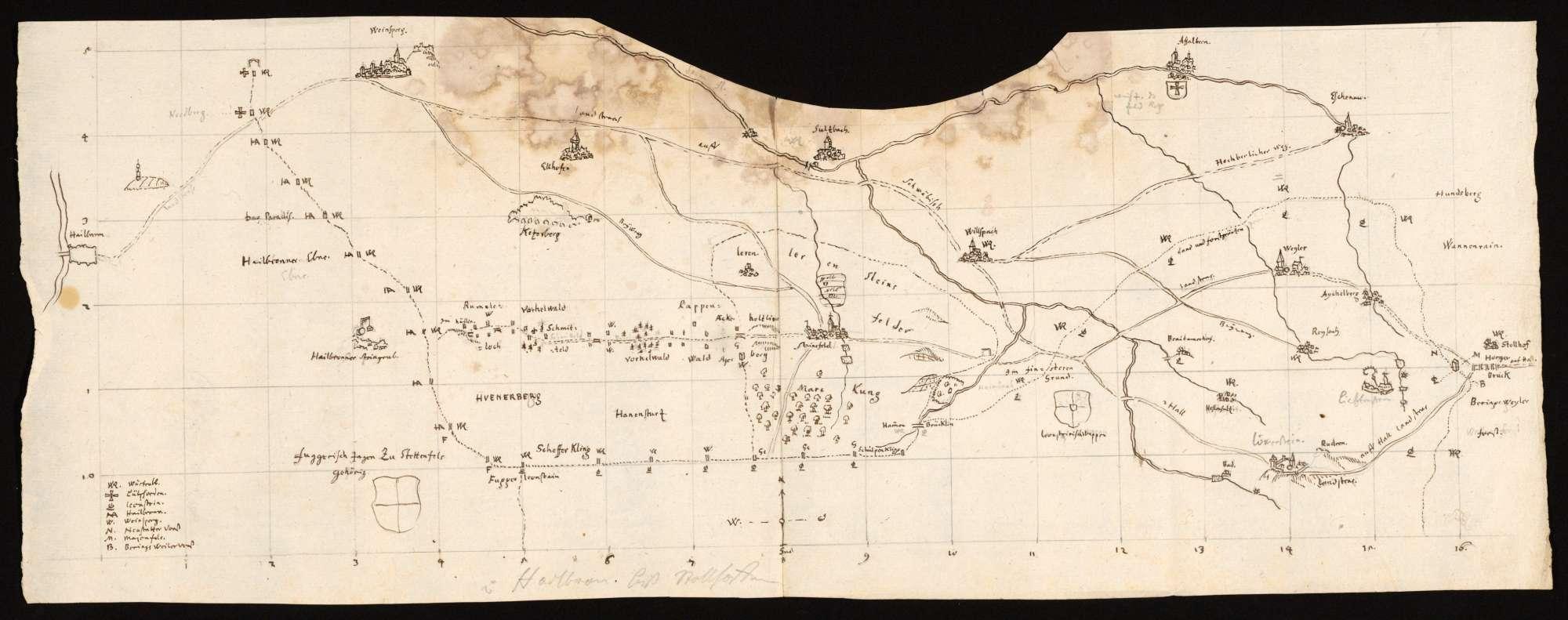 """[Karte des Weinsberger Tales von Heilbronn bis zum Stollenhof mit Angabe der Forst- und Herrschaftsgrenzen] """"v. Heilbronn biß Stollhoffen"""" [alter Titel], Bild 1"""