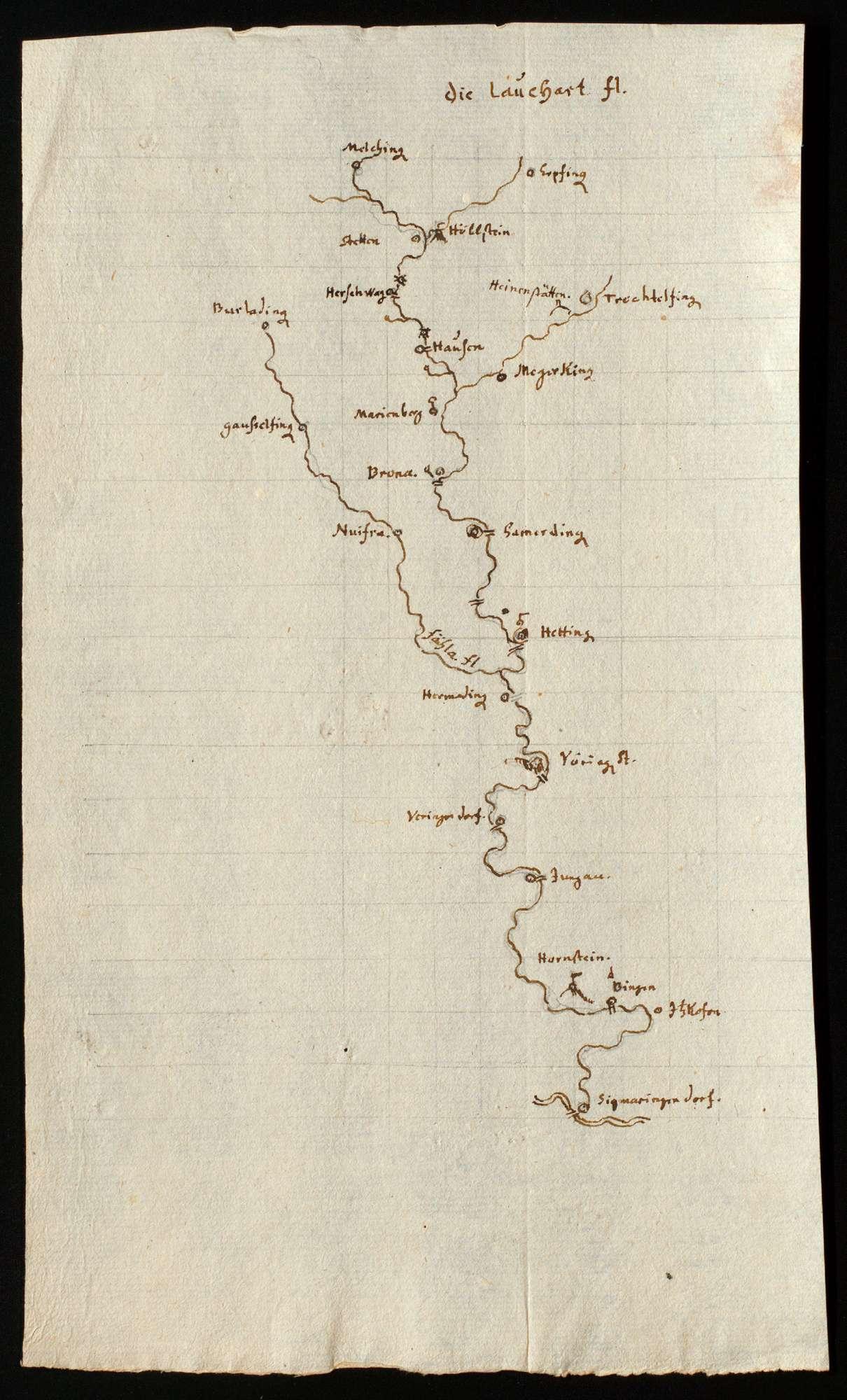 """[Karte der Lauchert vom Ursprung bis zur Mündung] """"Die Lauchert fl."""", Bild 1"""