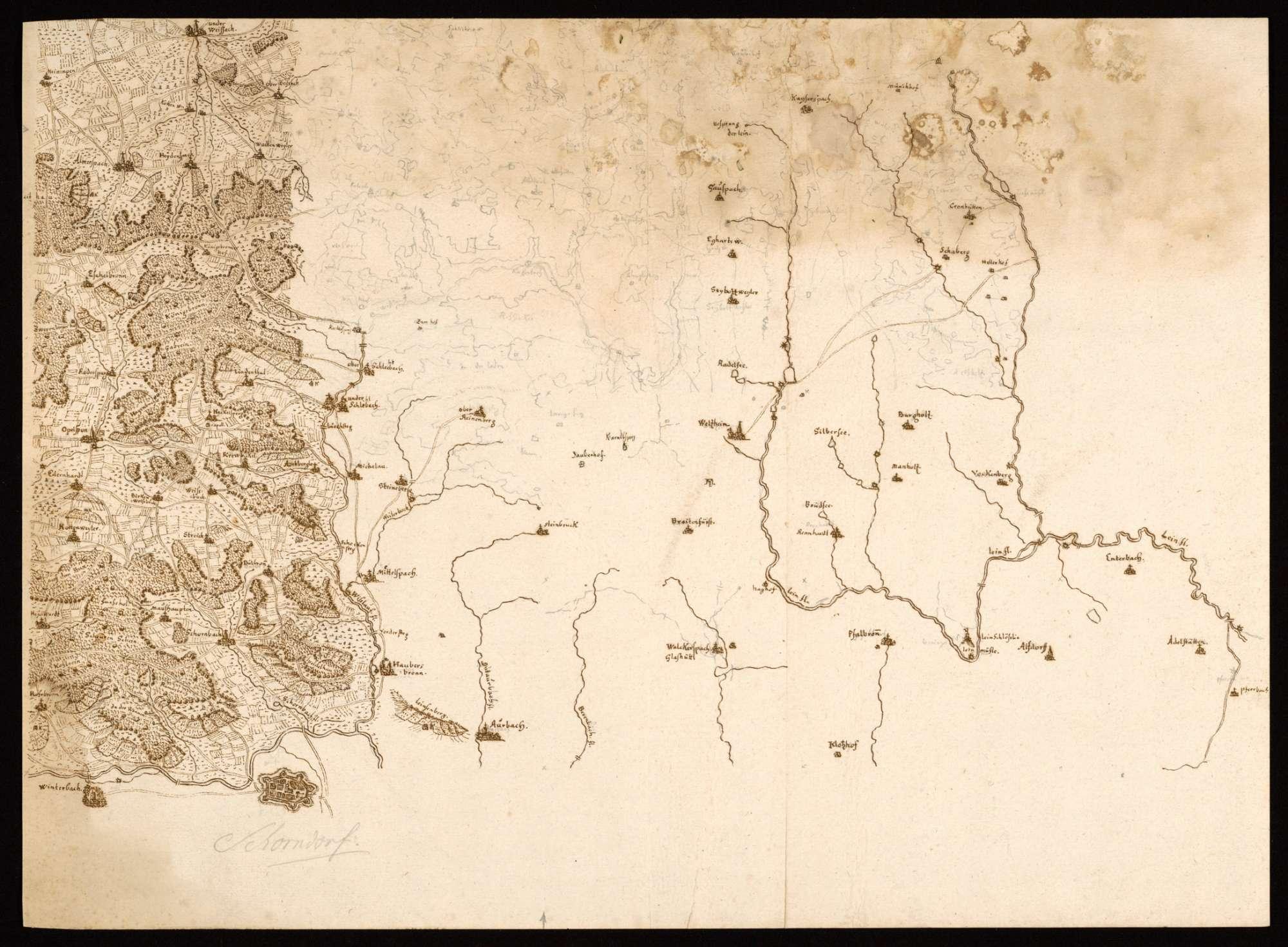 """[Karte der """"Berglen"""" und des Welzheimer Waldes], Bild 1"""