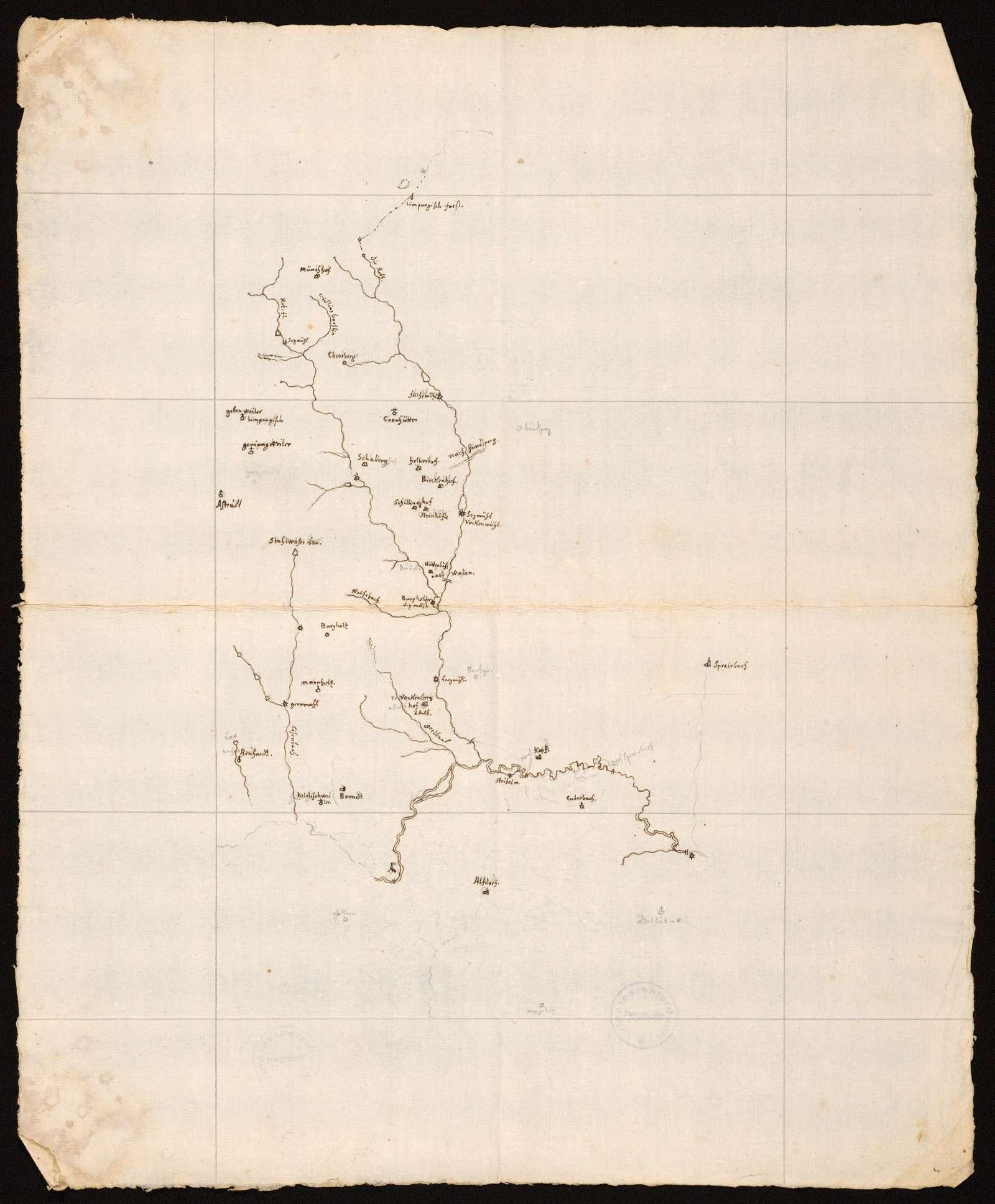 """[Karte der Schwarzen Rot und der Lein im Welzheimer Wald] """"Die Gegend bey Murrhard"""" [unzutreffender Rückseitentitel von späterer Hand], Bild 1"""