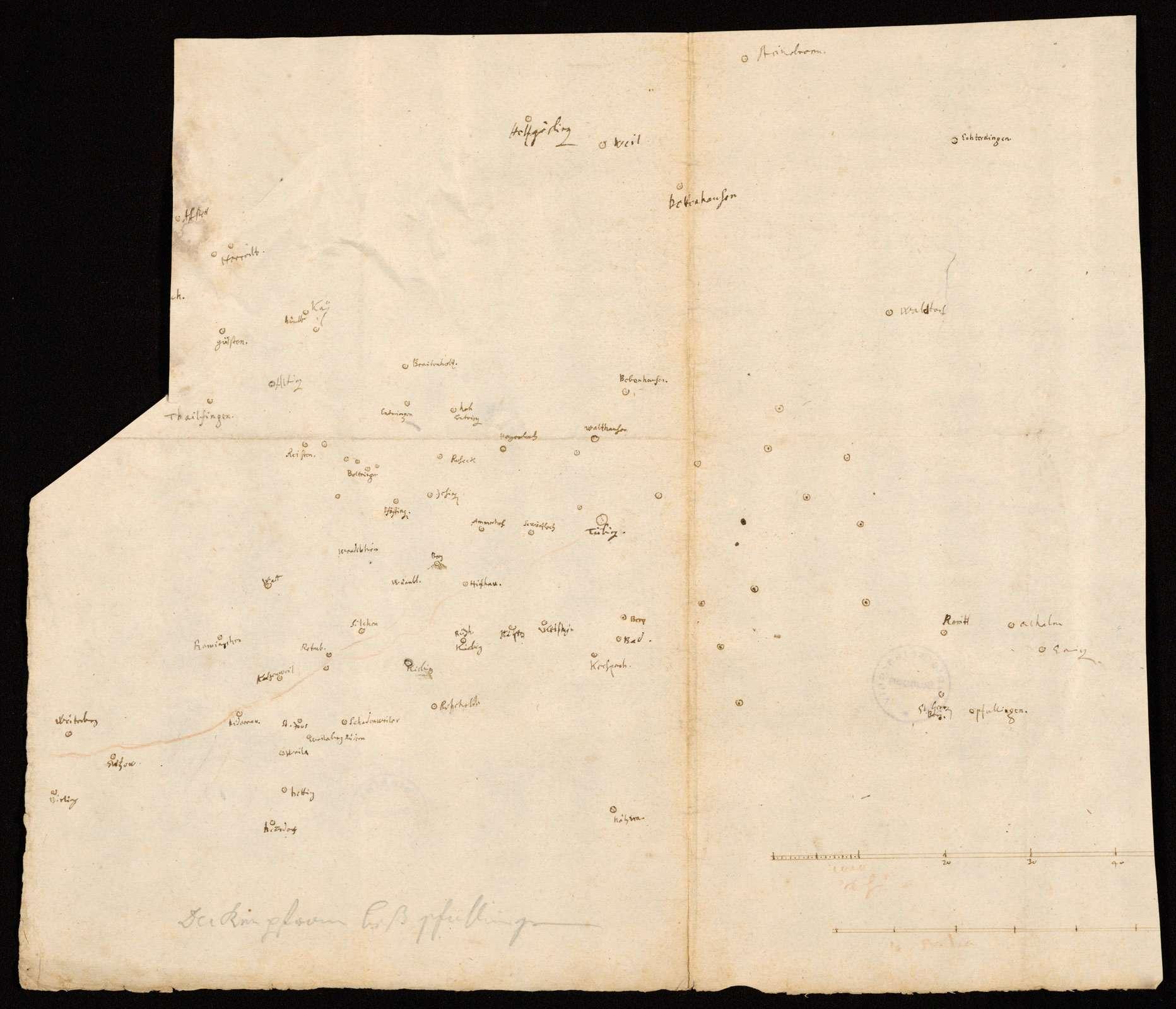 """[Karte von Schönbuch, Rammert und Alb] """"Deckenpfronn biß Pfullingen"""" [Bleistifttitel von späterer Hand], Bild 1"""
