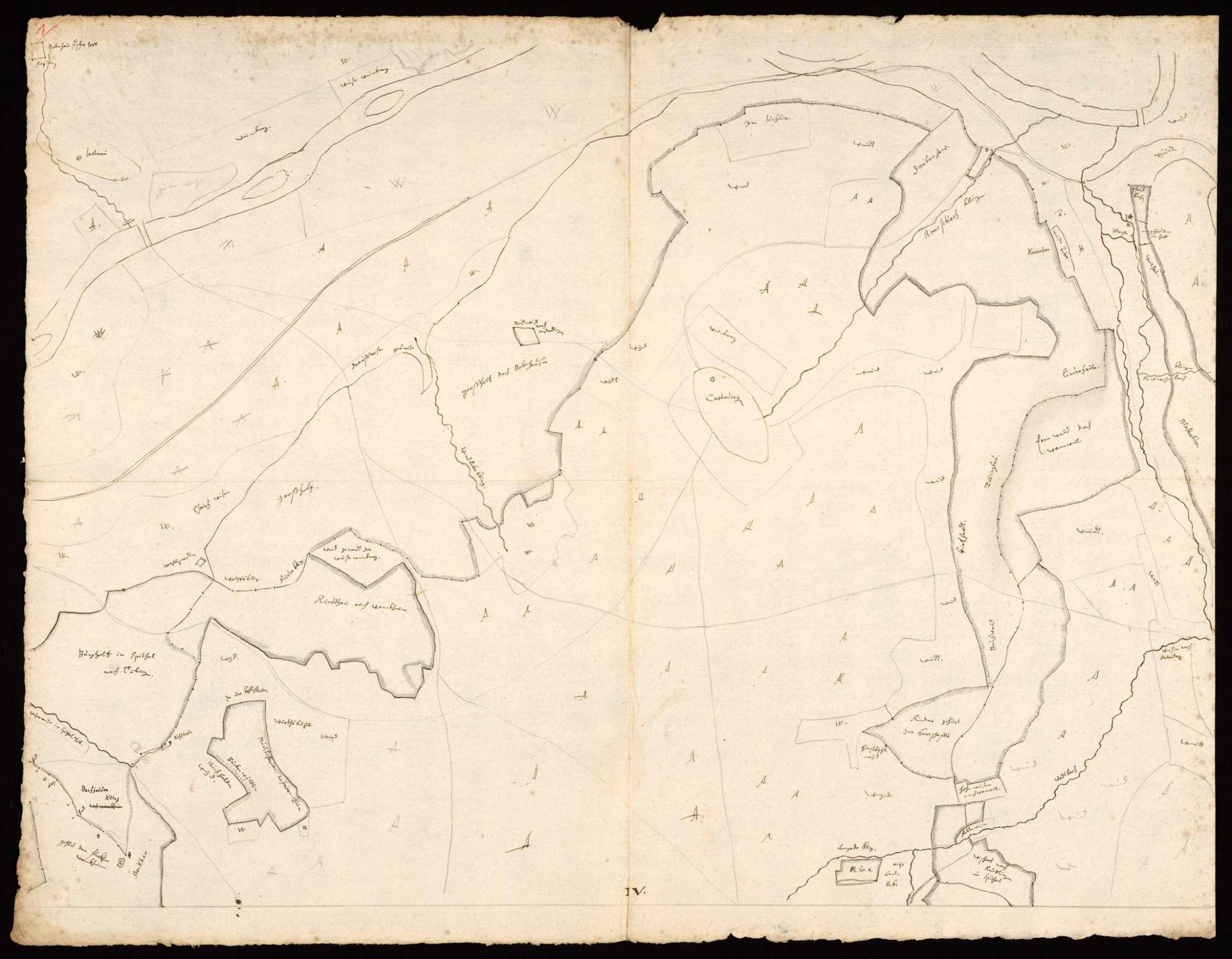 [Karte der Waldungen zwischen Steinlach, Neckar und Echaz, in 4 Blättern], Bild 1