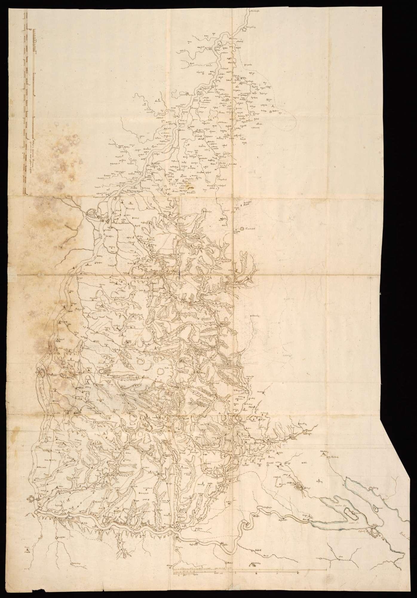 """[Karte des badischen Schwarzwalds von Philippsburg bis zum Bodensee] """"Sylva Hercinia"""" [Rückseitentitel], Bild 1"""