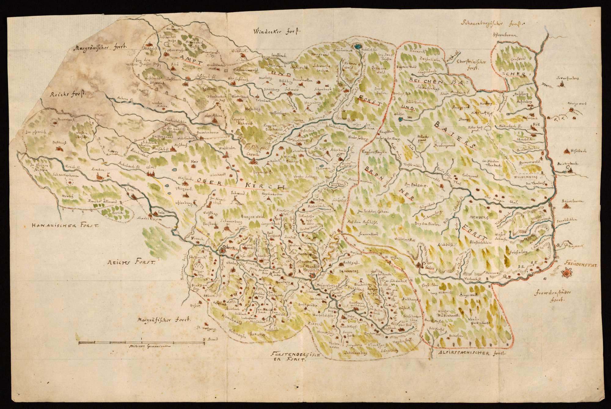 [Karte von Forst und Amt Oberkirch sowie des Reichenbacher und Baiersbronner Forsts], Bild 1