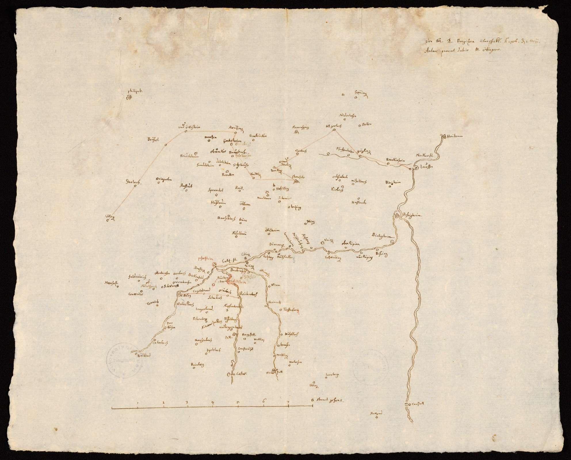 """[Karte des nördlichen Schwarzwalds und des Kraichgaus mit dem Zabergäu] """"Entz und Nagoldt"""" [Rückseitentitel von Hand des 18. Jhs.], Bild 1"""