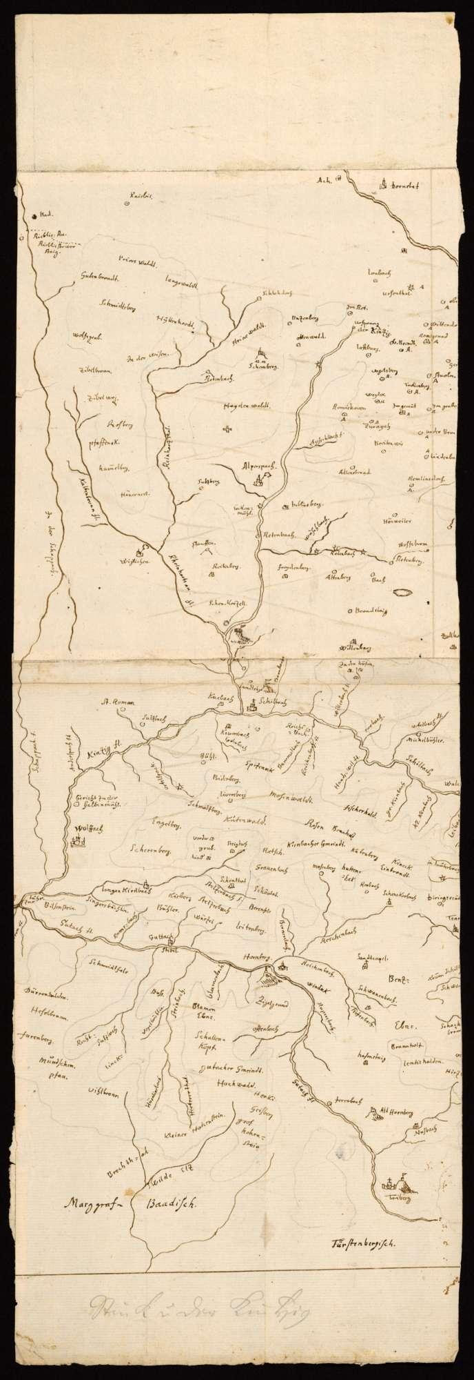 """[Ausschnitt des Schwarzwalds mit Kinzig und Gutach] """"Stück von der Kintzig"""" [Bleistifttitel von späterer Hand], Bild 1"""