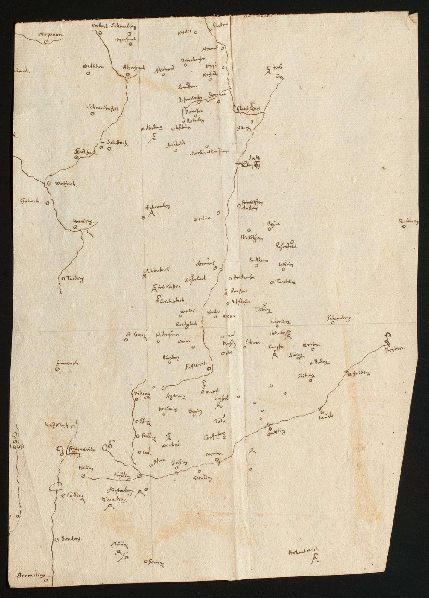 """[Übersichtsskizze über den mittleren und südlichen Schwarzwald] """"Stück vom Kinzingerthal"""" [Rückseitentitel, Bleistift, 18. Jh., von anderer Hand], Bild 1"""