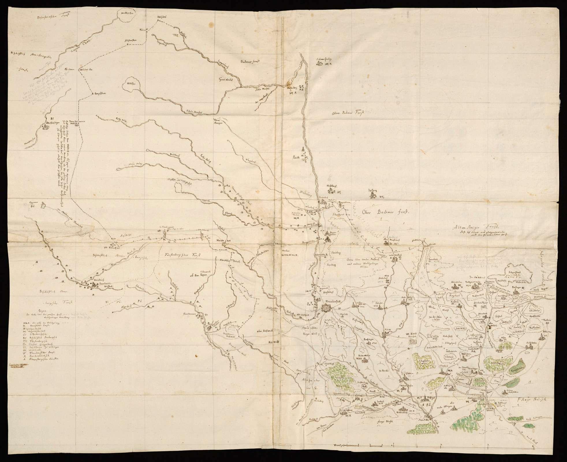 """[Karte des Freudenstadter Forsts] mit Umgebung; """"Forestum Freudenstattense"""" [Rückseitentitel], Bild 1"""