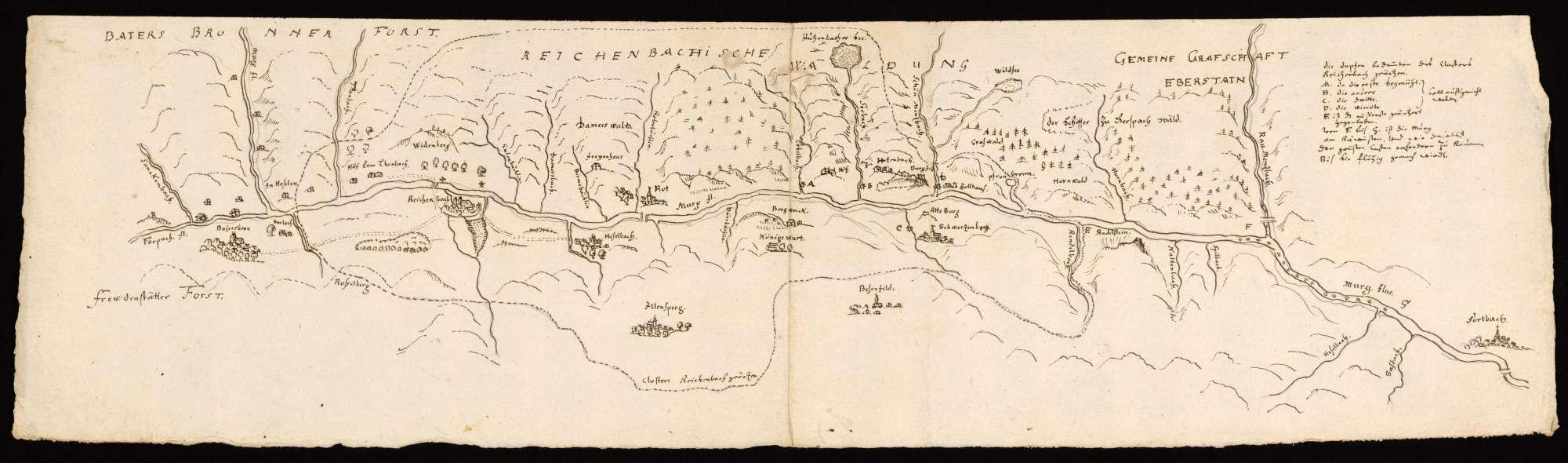 """[Karte des Murgtals von Baiersbronn bis Forbach]; """"Murga flumen"""" [Rückseitentitel], Bild 1"""
