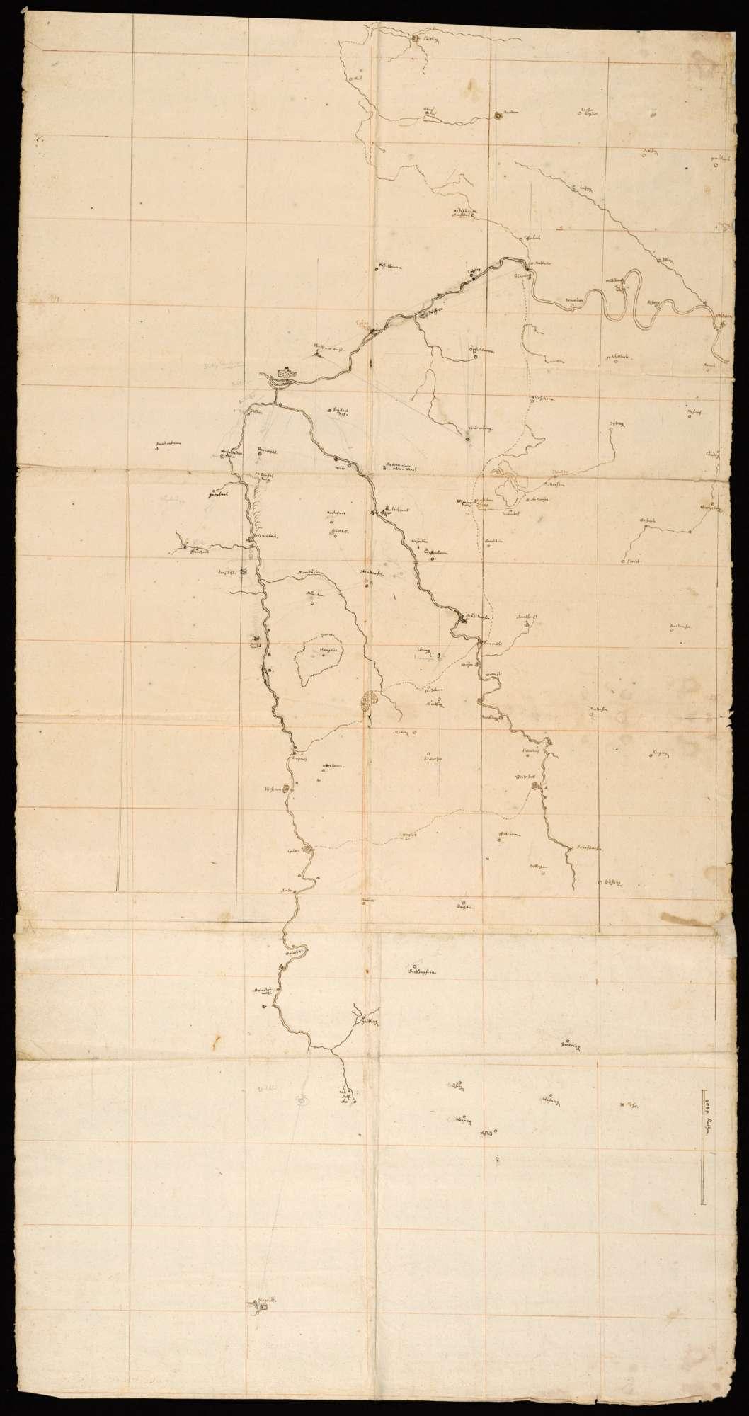 """[Karte des Nagold-Würm-Enz-Gebiets]; """"Die Nagold samt ihrem Ausfluß"""" [Rückseitentitel von späterer Hand], Bild 1"""