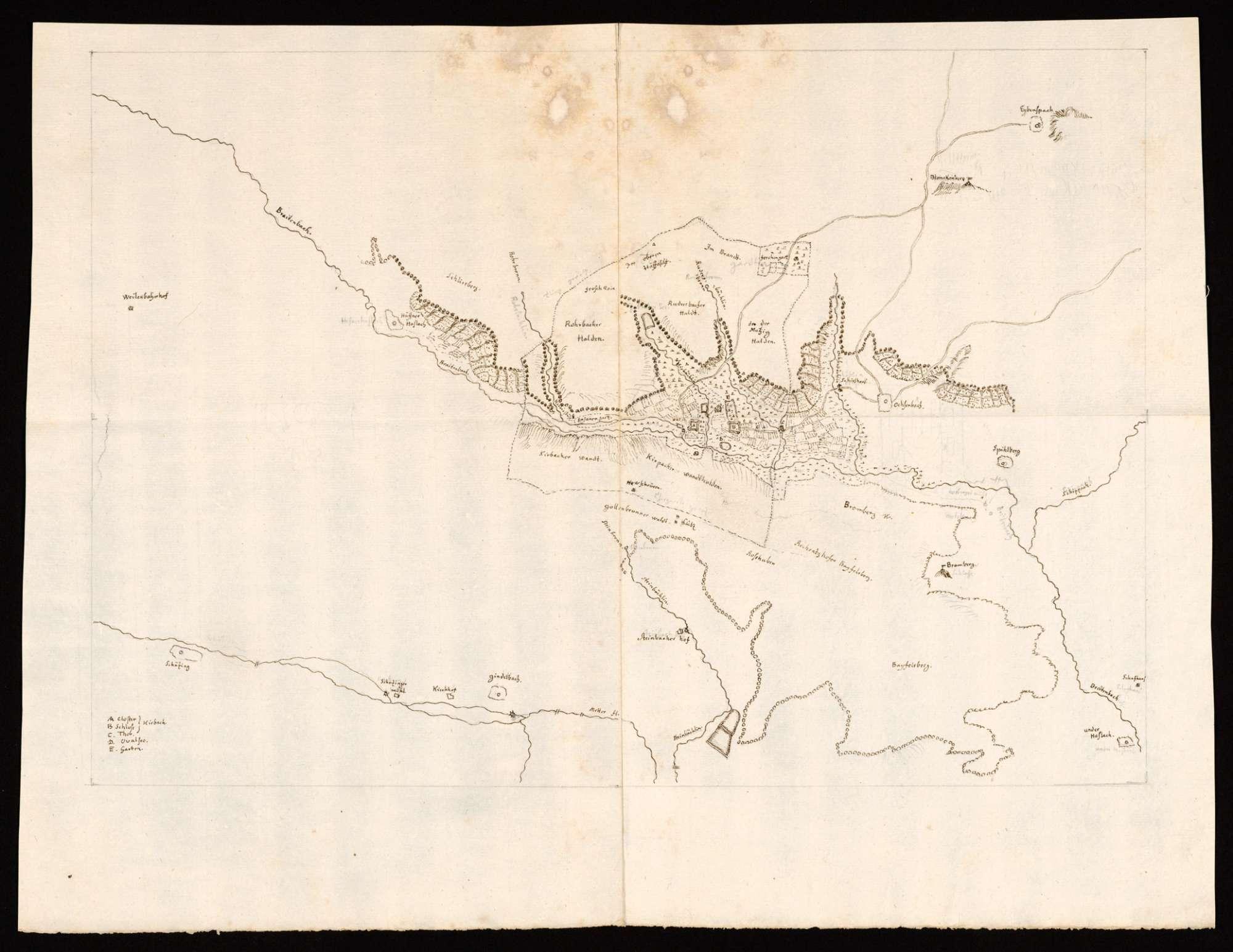 """[Karte des Kirbachtales von Häfnerhaslach bis Spielberg] """"Die Gegend um Kirbach"""" [Rückseitentitel von späterer Hand], Bild 1"""
