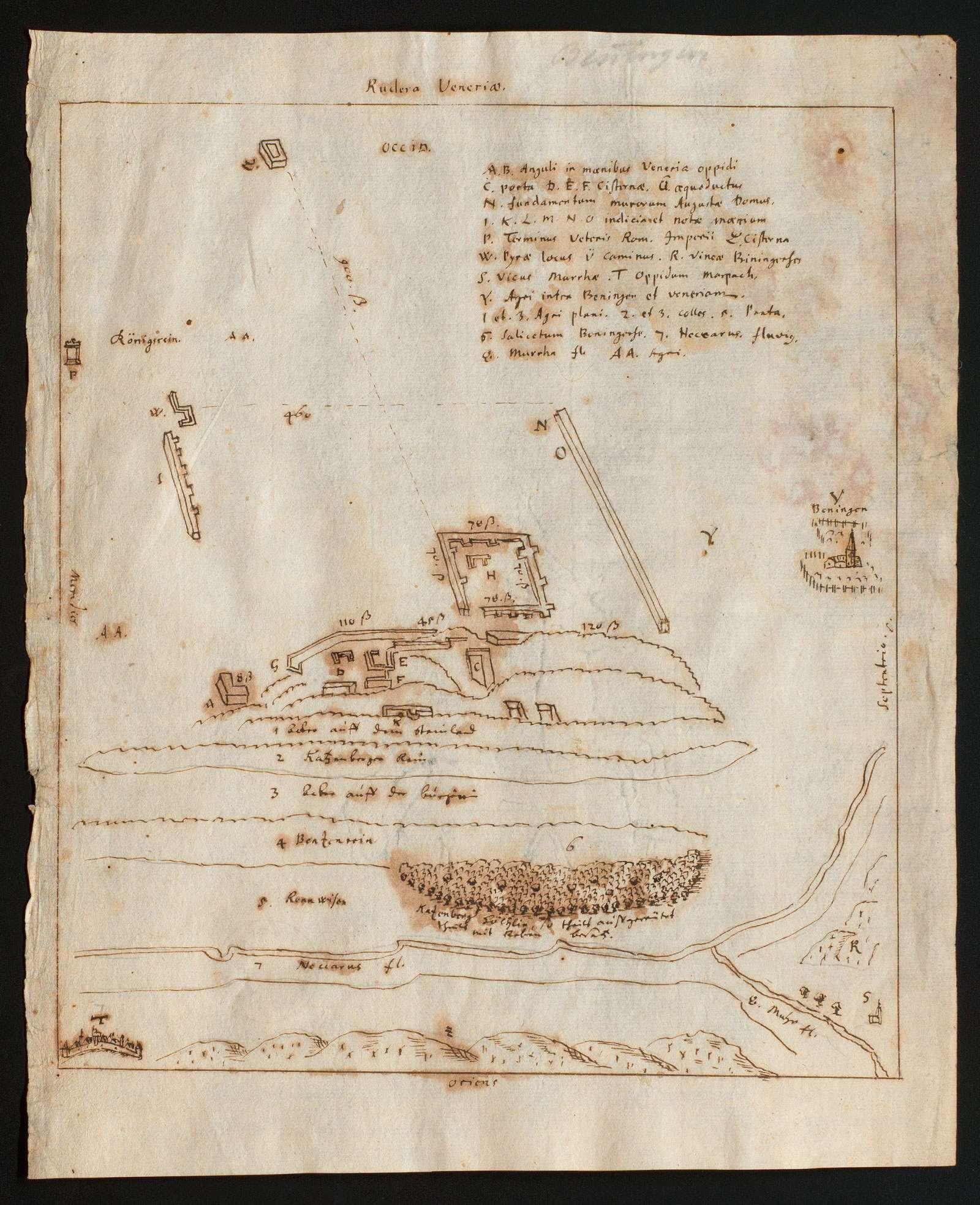 """[Skizze der bei Benningen unweit Marbach aufgefundenen Reste eines römischen Lagers oder einer Siedlung]; """"Rudera Veneriae"""", Bild 1"""