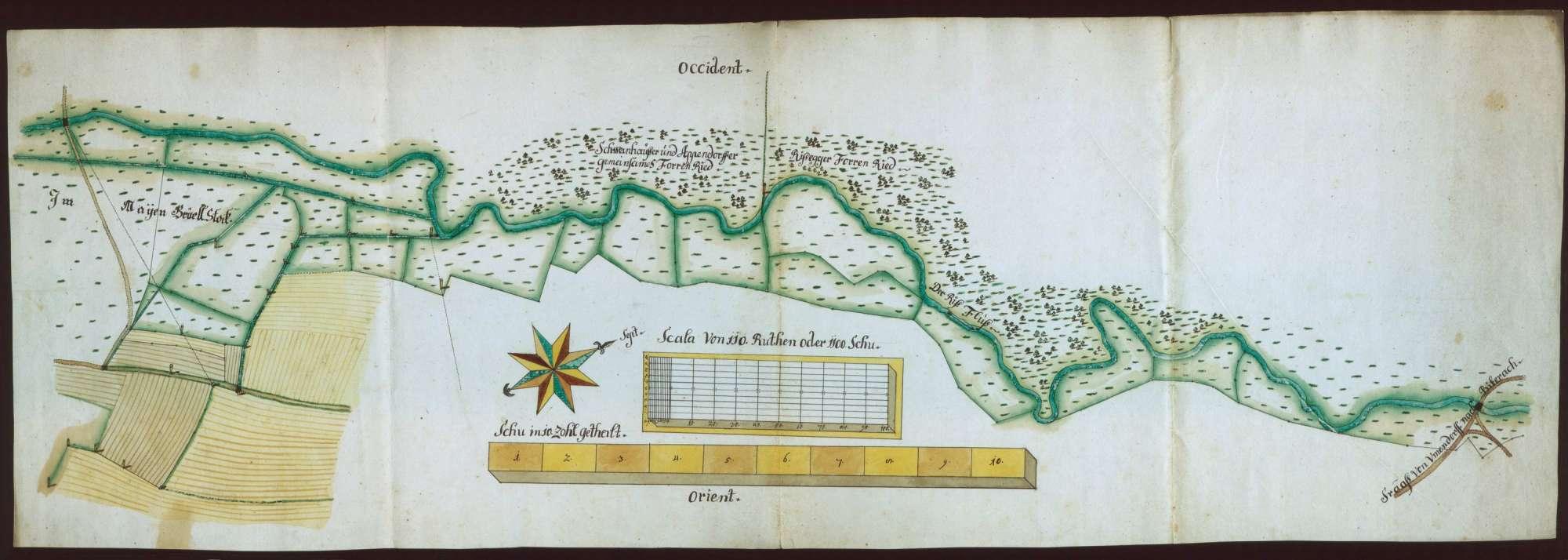 [Rißegg, Biberach an der Riß, BC: Plan des Rißflusses von der Straßenbrücke nach Ummendorf bis zum Maienbrühlstock], Bild 1