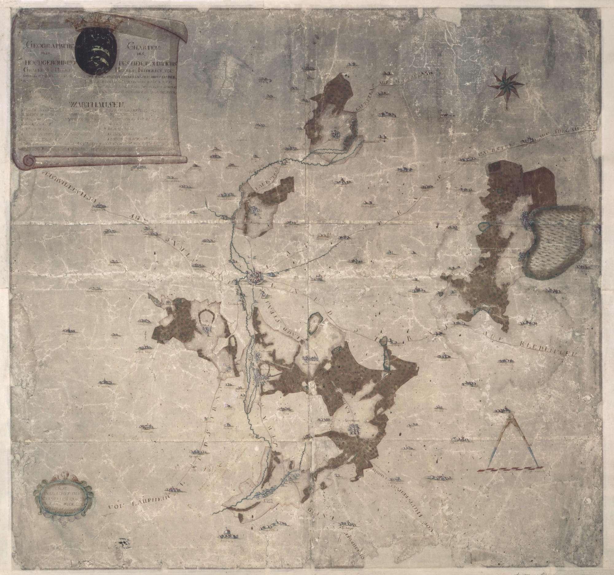 """""""Geographische Charte über des hochwohlgebohrnen (...) Grafen und Herrn, Herrn Friederici von und zu Stadion (...) Herrschaft Warthausen"""" (Schrift teilweise unleserlich, da verblasst), Bild 1"""