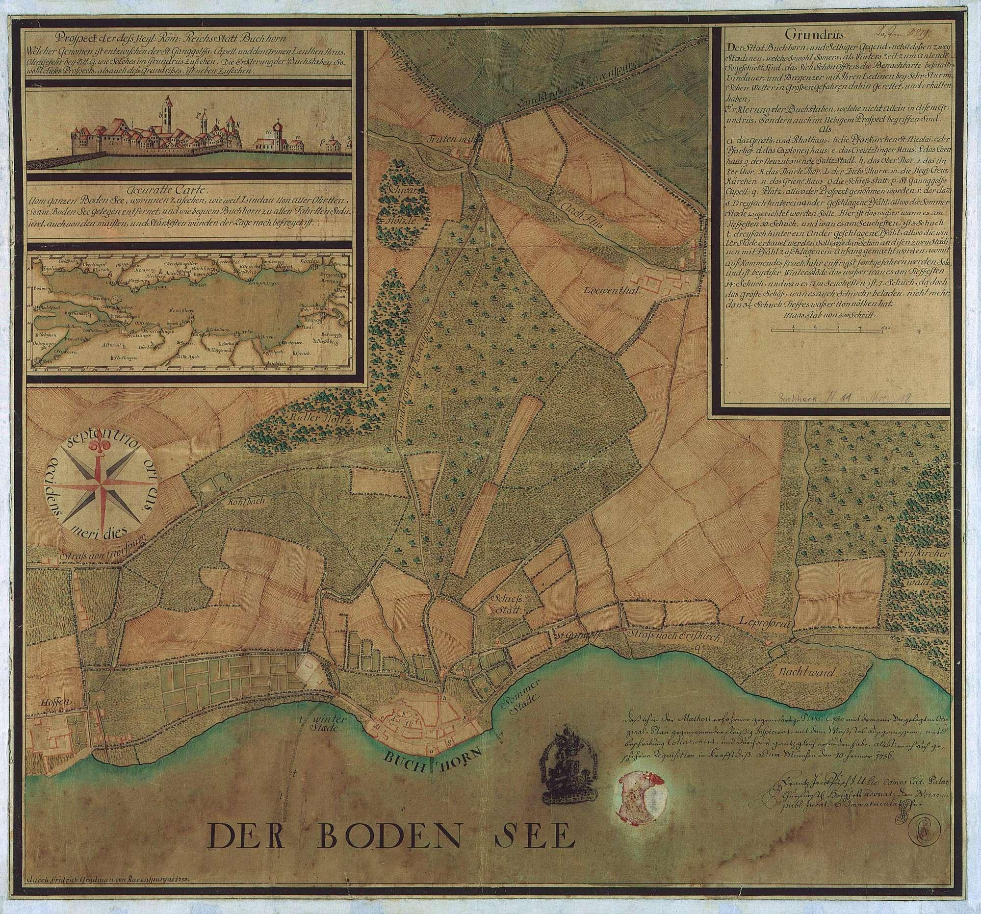 """""""Grundriß der Stadt Buchhorn und selbiger Gegend nebst dessen zwey Staedinen"""", Bild 1"""