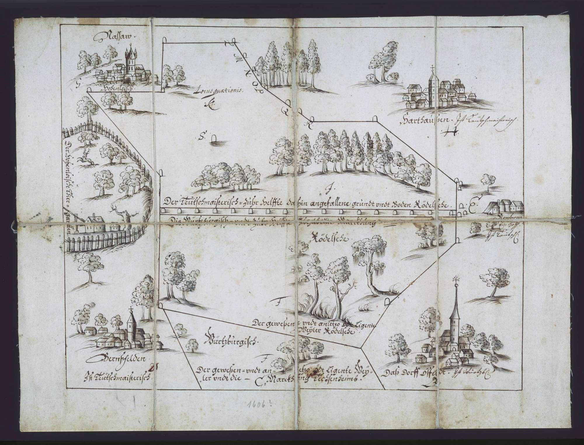 o. T. [Karte der zwischen dem Deutschen Orden und dem Hochstift Würzburg geteilten Gemarkung des abgegangenen Ortes Rötelsee], Bild 1