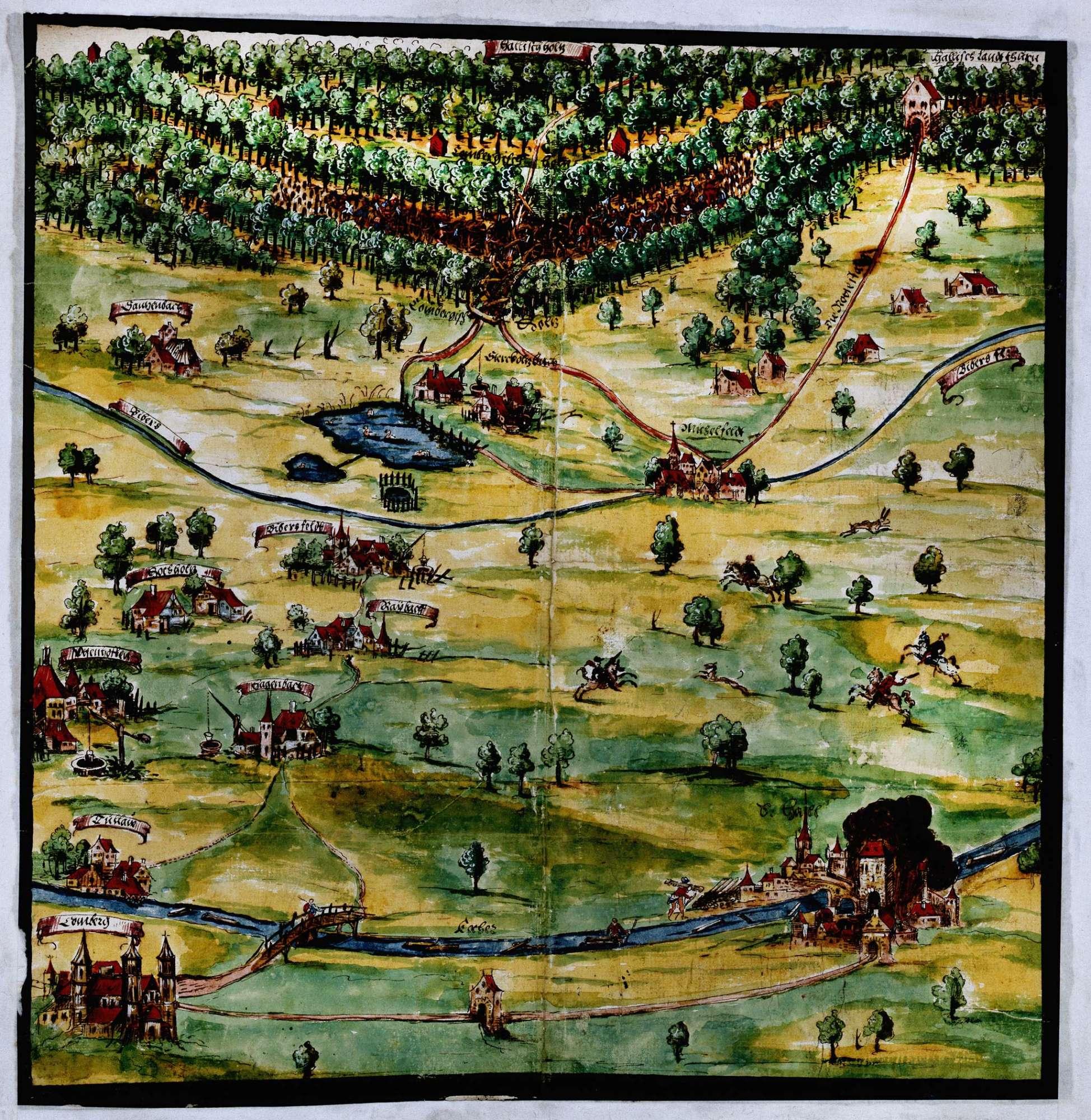 o. T. [Karte des von den Hallern versperrten Wegs am Starkholzbach bei den Waldungen des Stifts Comburg unweit Michelfeld], Bild 1