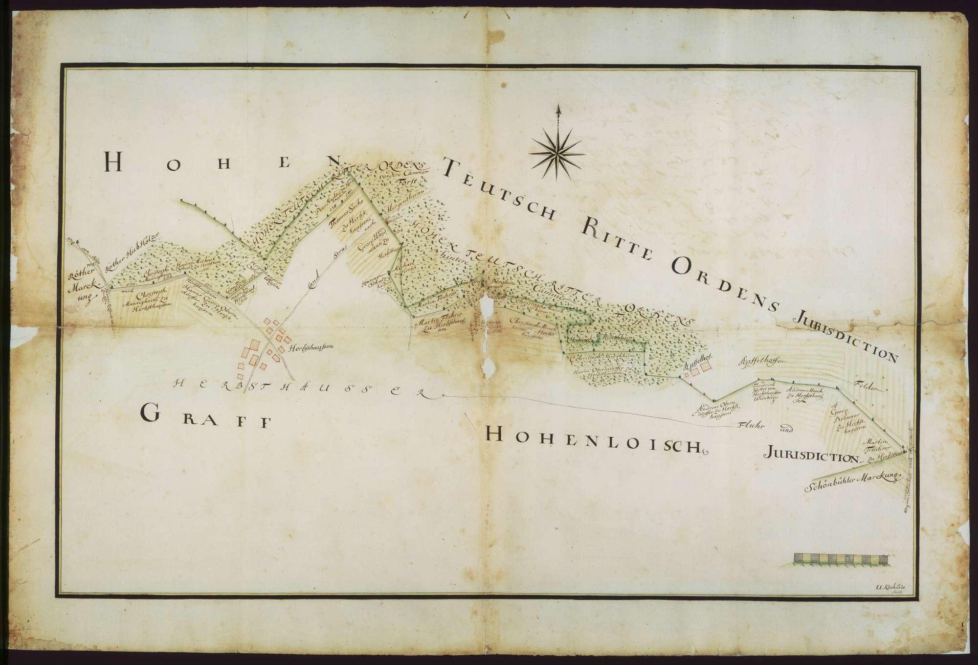 o. T. [Jurisdiktionsgrenzen des Deutschen Ordens bei Herbsthausen], Bild 1