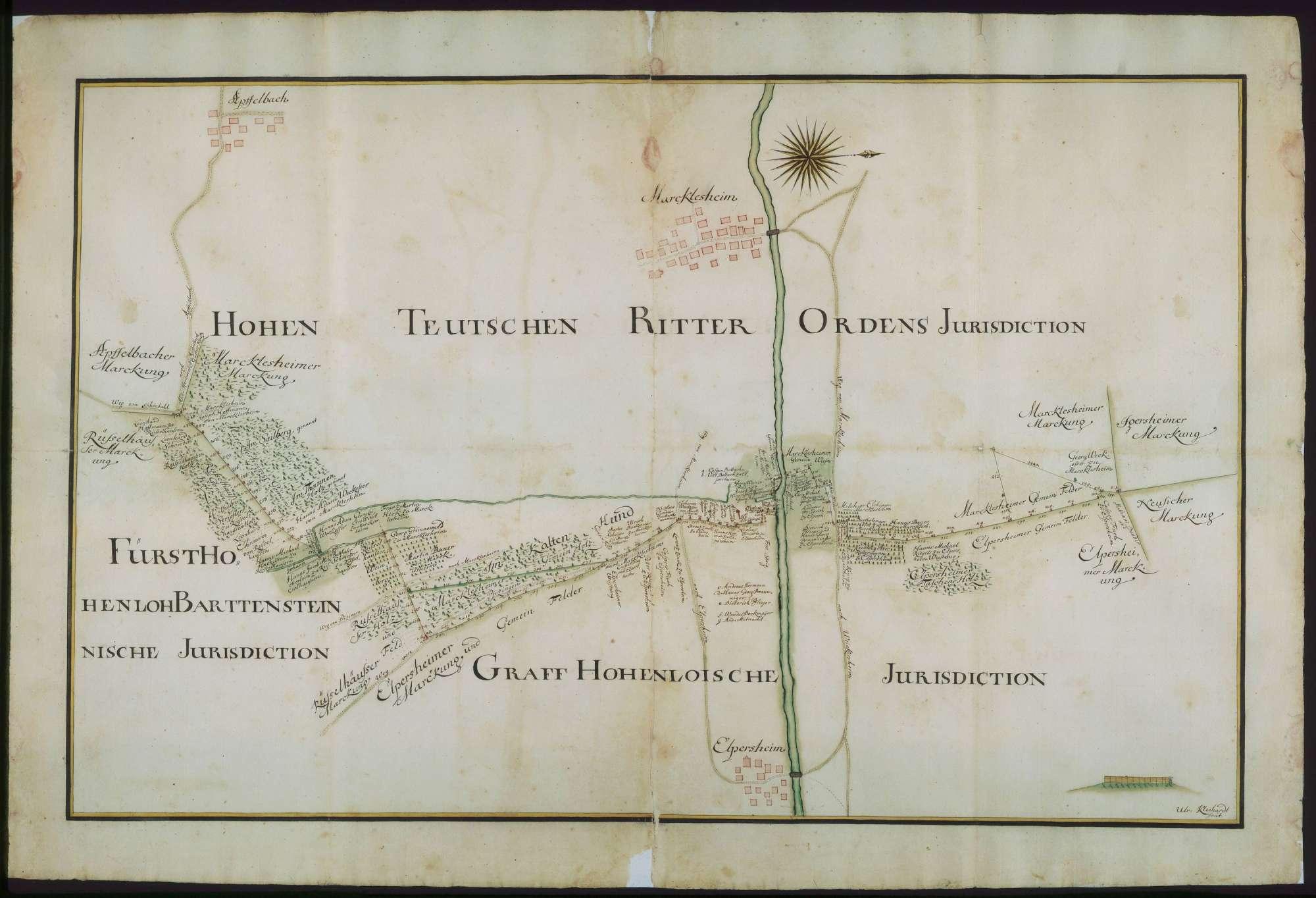 o. T. [Jurisdiktionsgrenzen des Deutschen Ordens im Raum Markelsheim], Bild 1