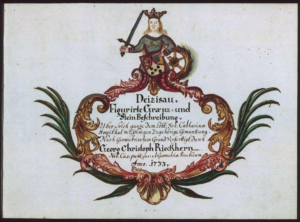 """""""Deizisau: Figurierte Graenzbeschreibung 1733"""" """"Deizisau: Figurierte Graenz- und Steinbeschreibung über solch ganze dem löbl(ichen) S(a)nct-Catharinae-Hospithal in Esslingen zugehörige Gemarckung"""", Bild 1"""
