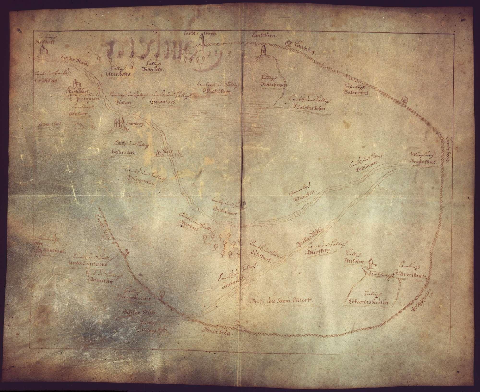 o. T. [Herrschaftsverhältnisse im Bereich der Haller Landhege], Bild 1