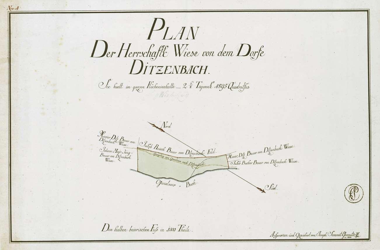 """""""Plan der Herrschaft(lichen) Wiese von dem Dorfe Ditzenbach"""", Bild 1"""