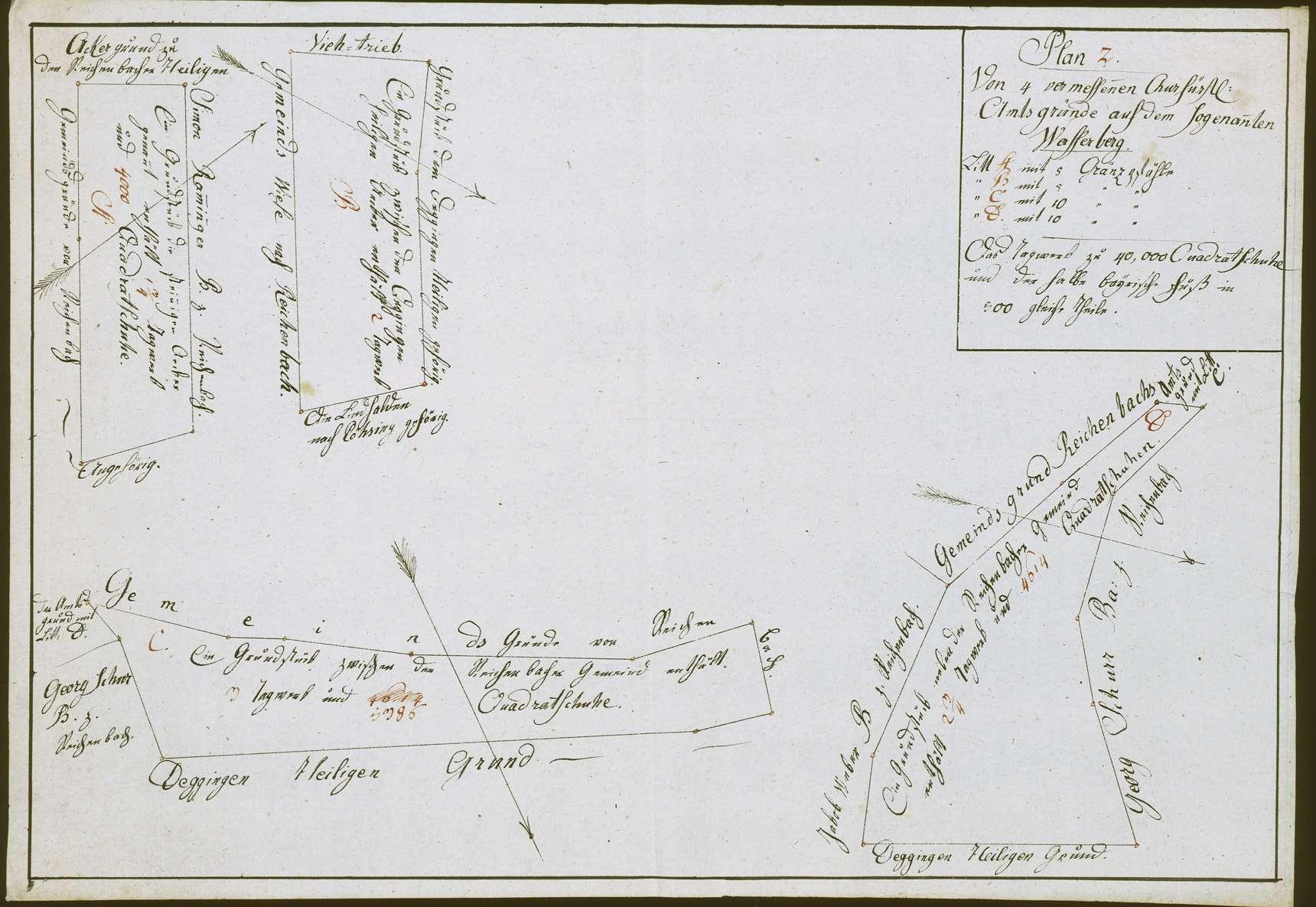 """""""Plan 2 von 4 vermessenen churfürstl(ichen) Amtsgründen auf dem sogenan(n)ten Wasserberg (Litera A-D)"""", Bild 1"""