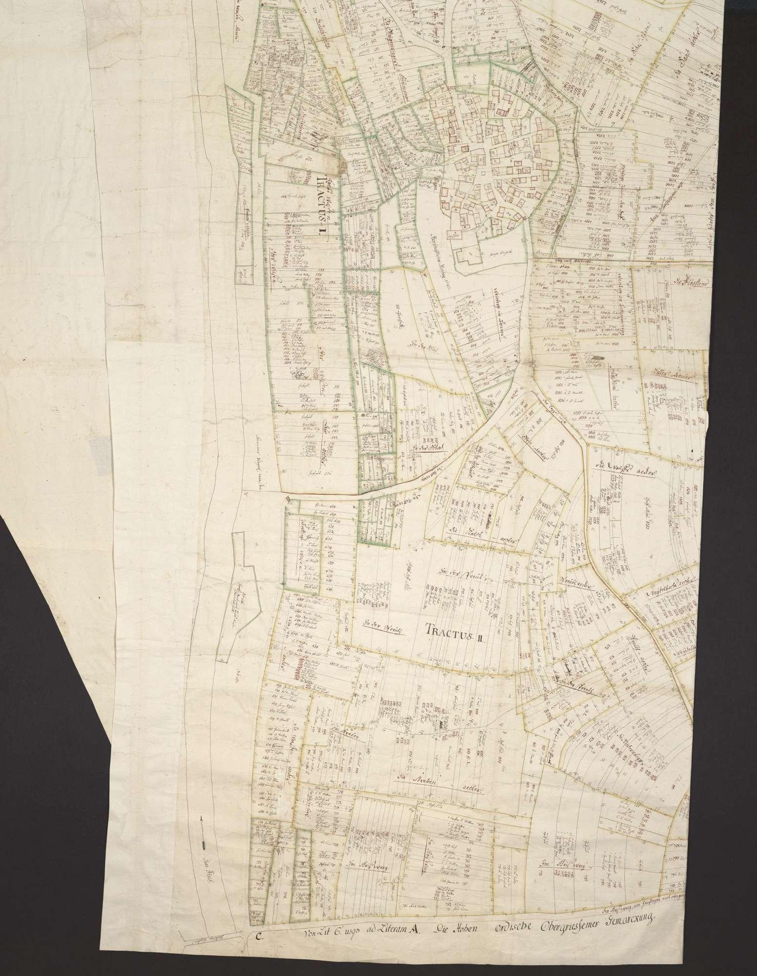 """""""Duttenberger Conzeptcharten, zum Ambt Heuchlingen gehörig"""" [Zeitgleicher Rückseitentitel] [Geometrischer Plan über die Gemarkung des Ortes Duttenberg], Bild 2"""