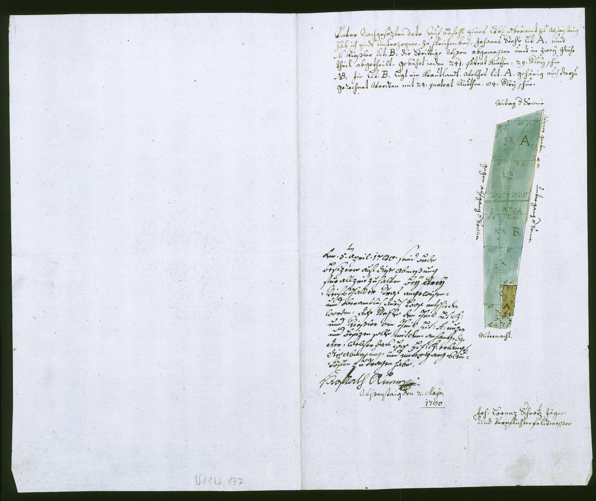 o. T. [Grundriss der zwischen Johannes Stehle und Joseph Rießler strittigen Wiese im Reichenbach], Bild 1