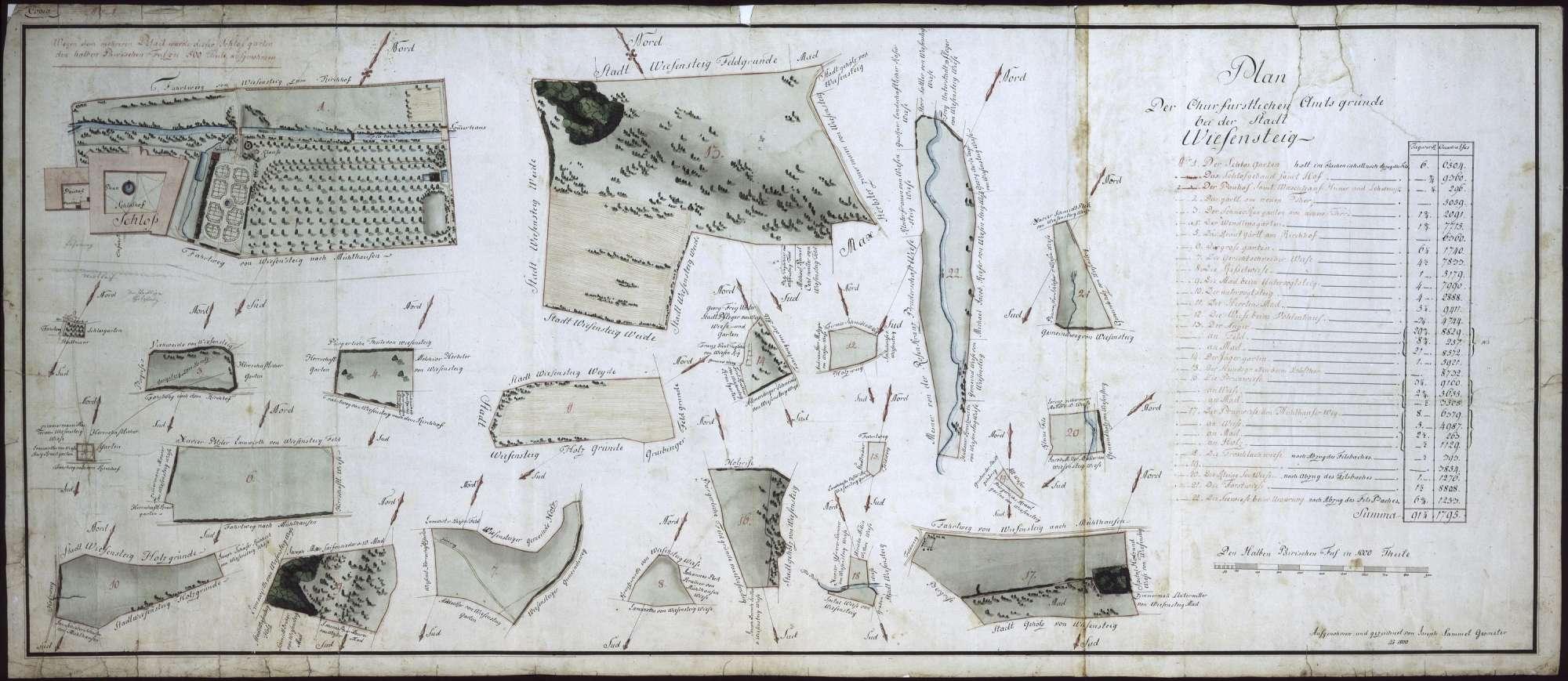 """""""Plan der churfürstlichen Amtsgründe bei der Stadt Wiesensteig (Nr. 1 - 22)"""", Bild 1"""