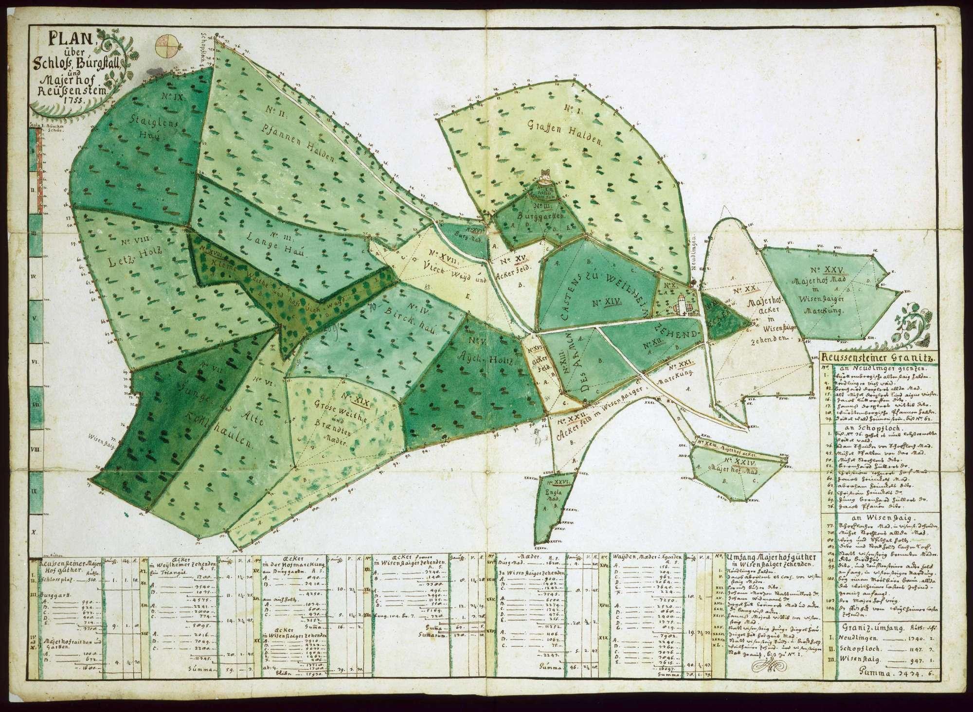 """""""Plan über Schloß, Burgstall und Maierhof Reussenstein"""", Bild 1"""