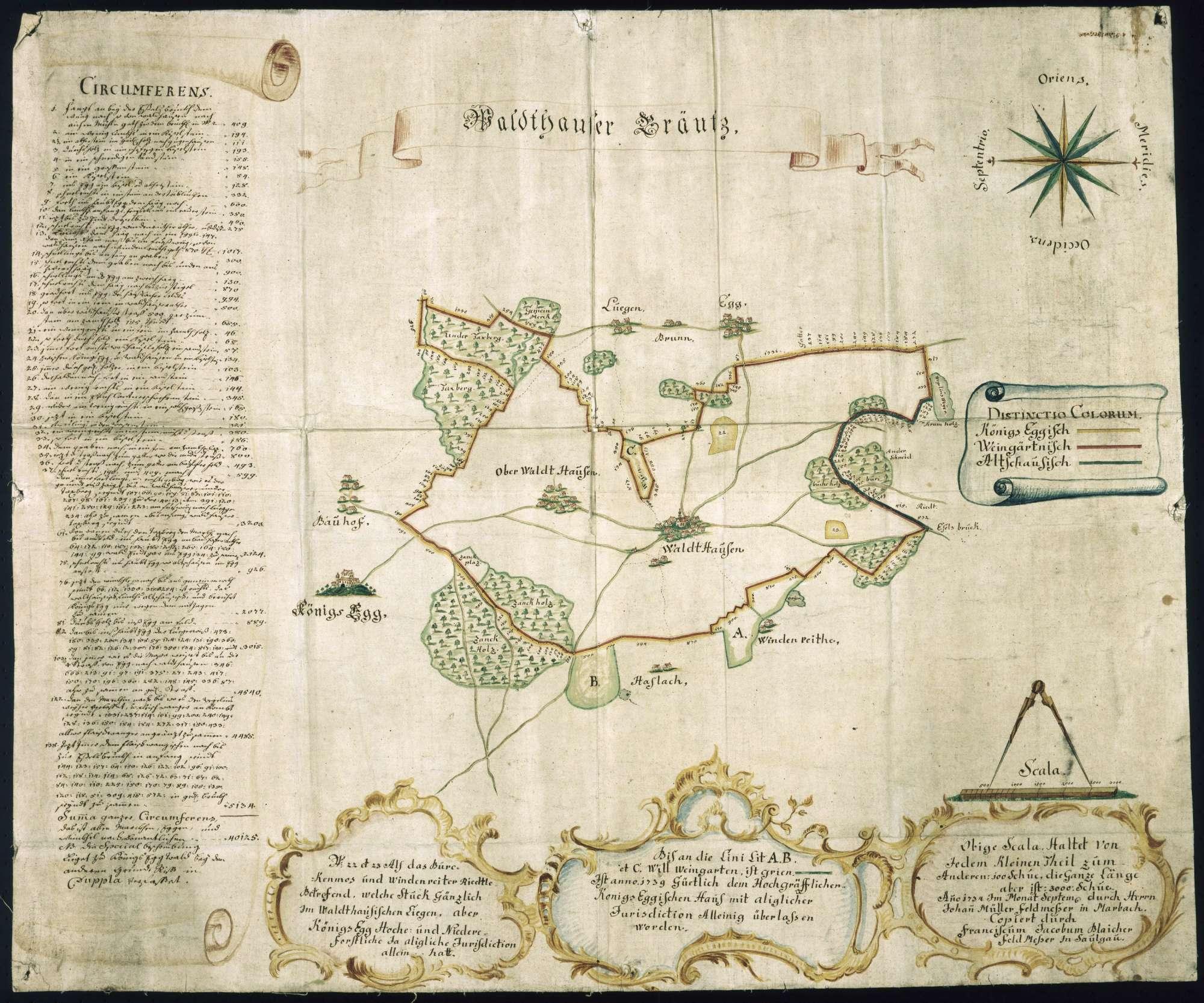 """""""Waldthäuser Gräntz""""; """"Waldhauser Grenzkarte de Anno 1734"""" [nachträglich angebrachter Rückentitel], Bild 1"""
